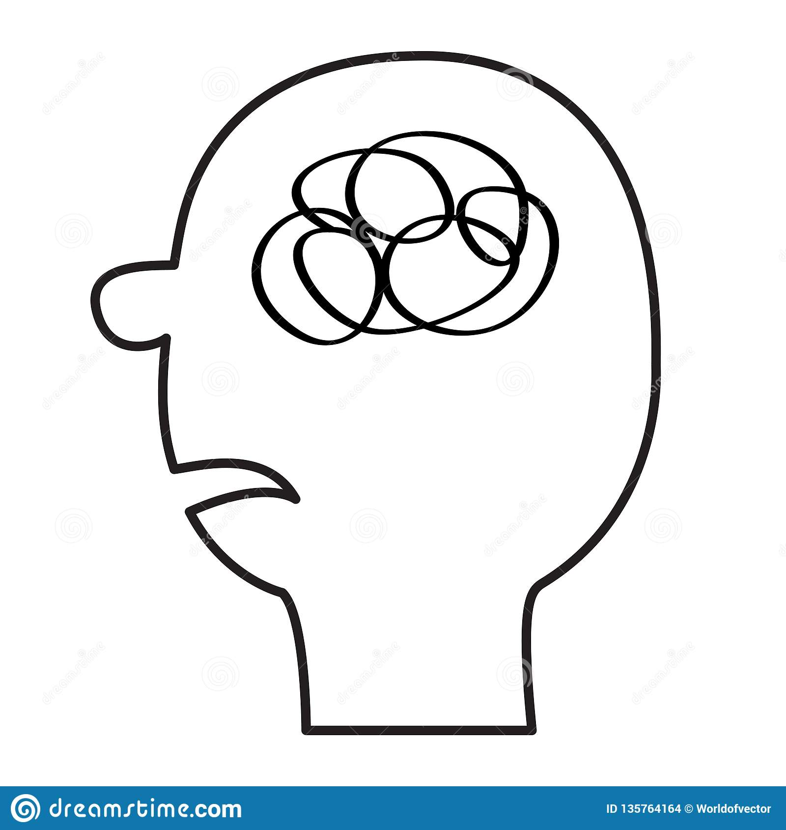 Black line silhouette scribble ravel in the head inside brain mental health concept psychotherapy thinking process flat design white background