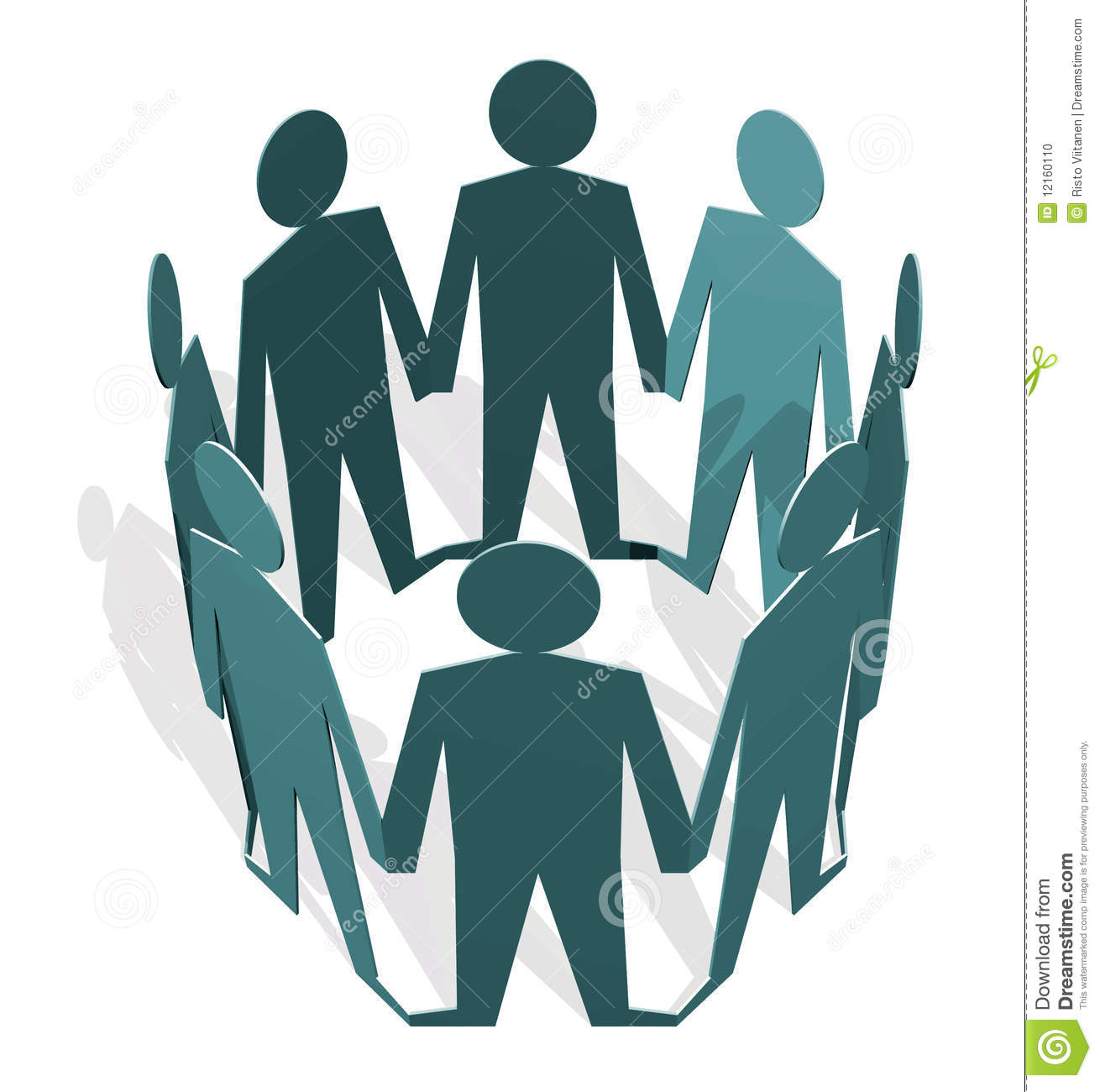 Human figures holding hands in a circle