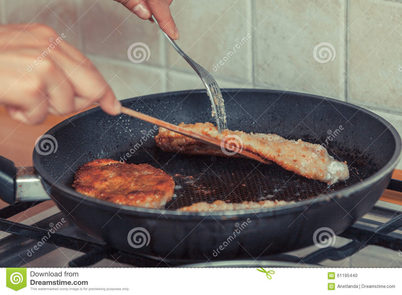Human Frying Breaded Chicken Cutlet Stock Photo Image