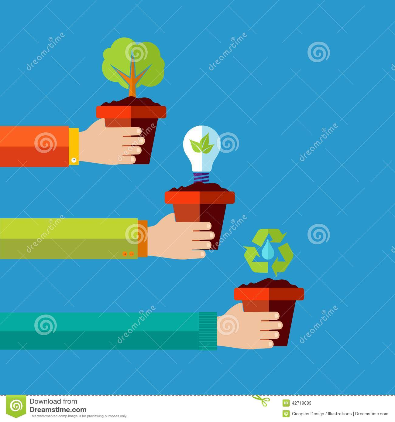 Human Go Green Flat Design Concept Background Stock Vector