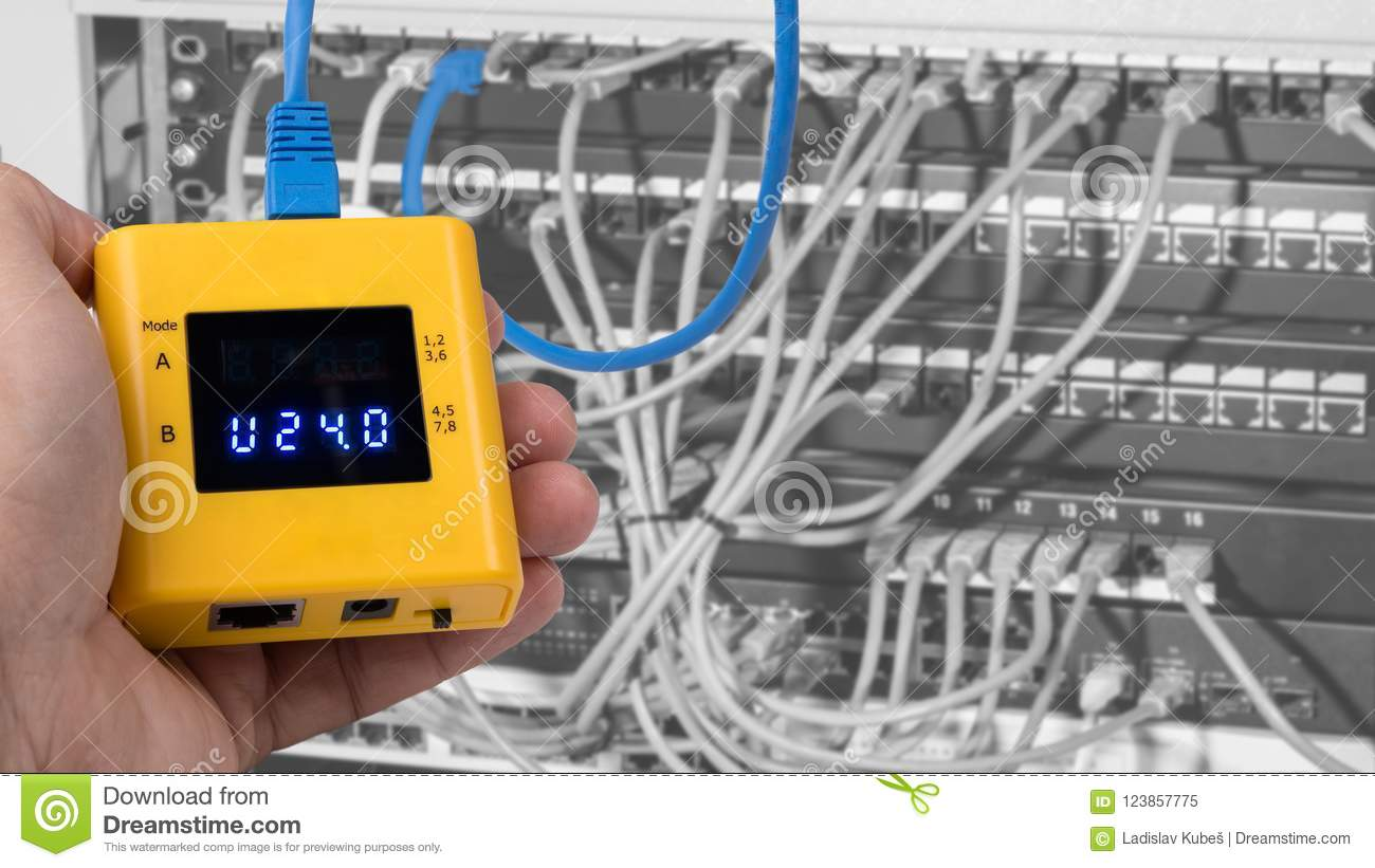 Structured Wiring Panel Vs Rack Switch Diagram Home Testing Of Poe On Cables Connected In Patch Panels Case Rh Dreamstime Com Systems Av