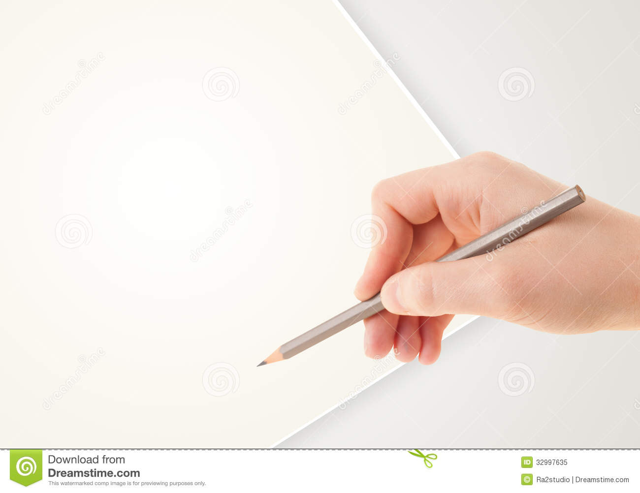 Human Hand Drawing With Pencil On Empty Paper Template Stock Image ...