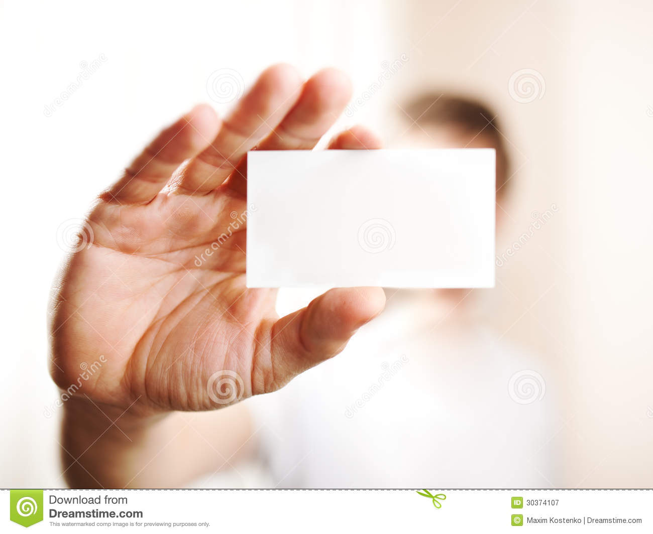 Human Hand Holding Blank Business Card Stock Image - Image of paper ...