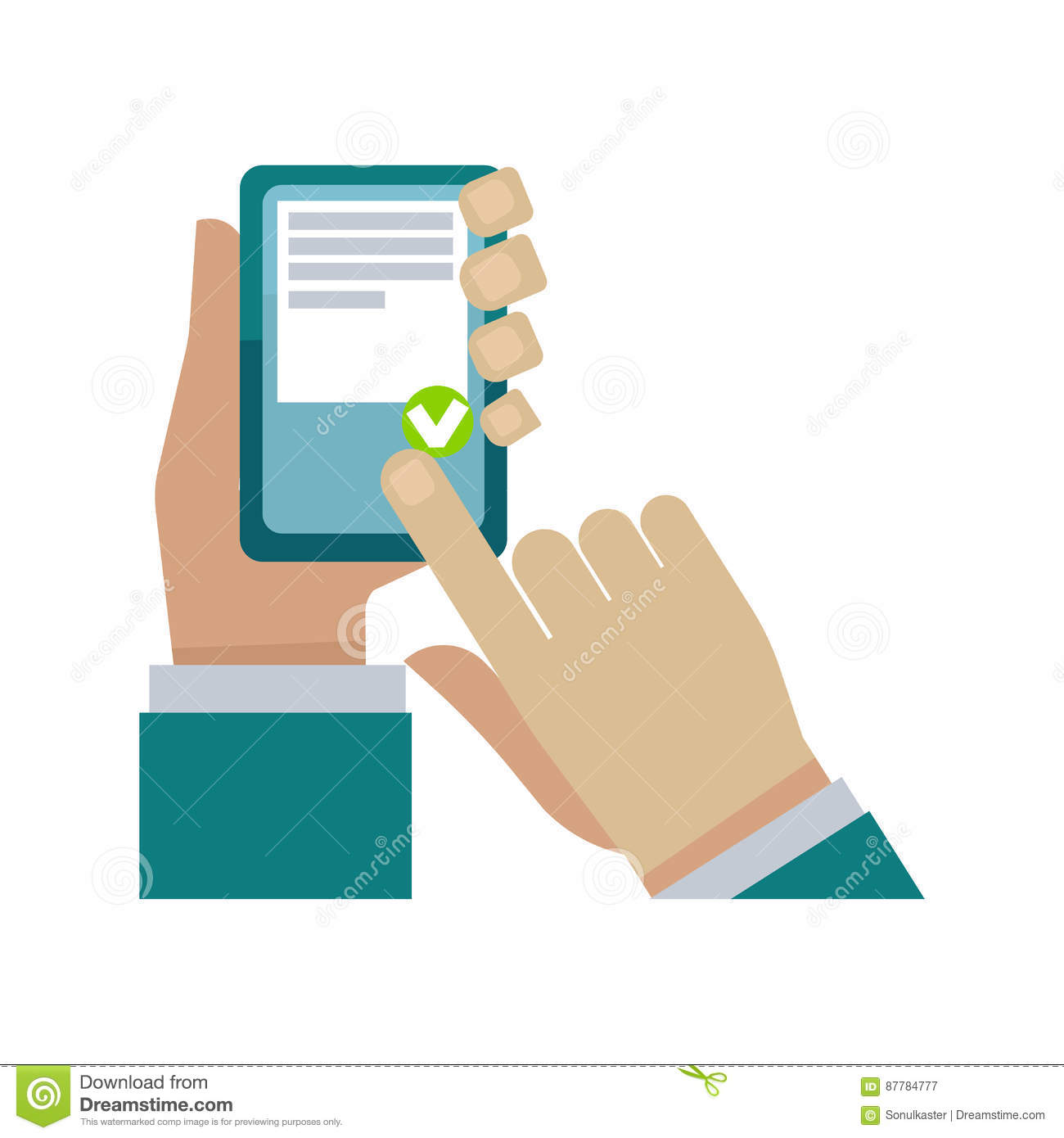 Human hand holding phone and choosing something on white