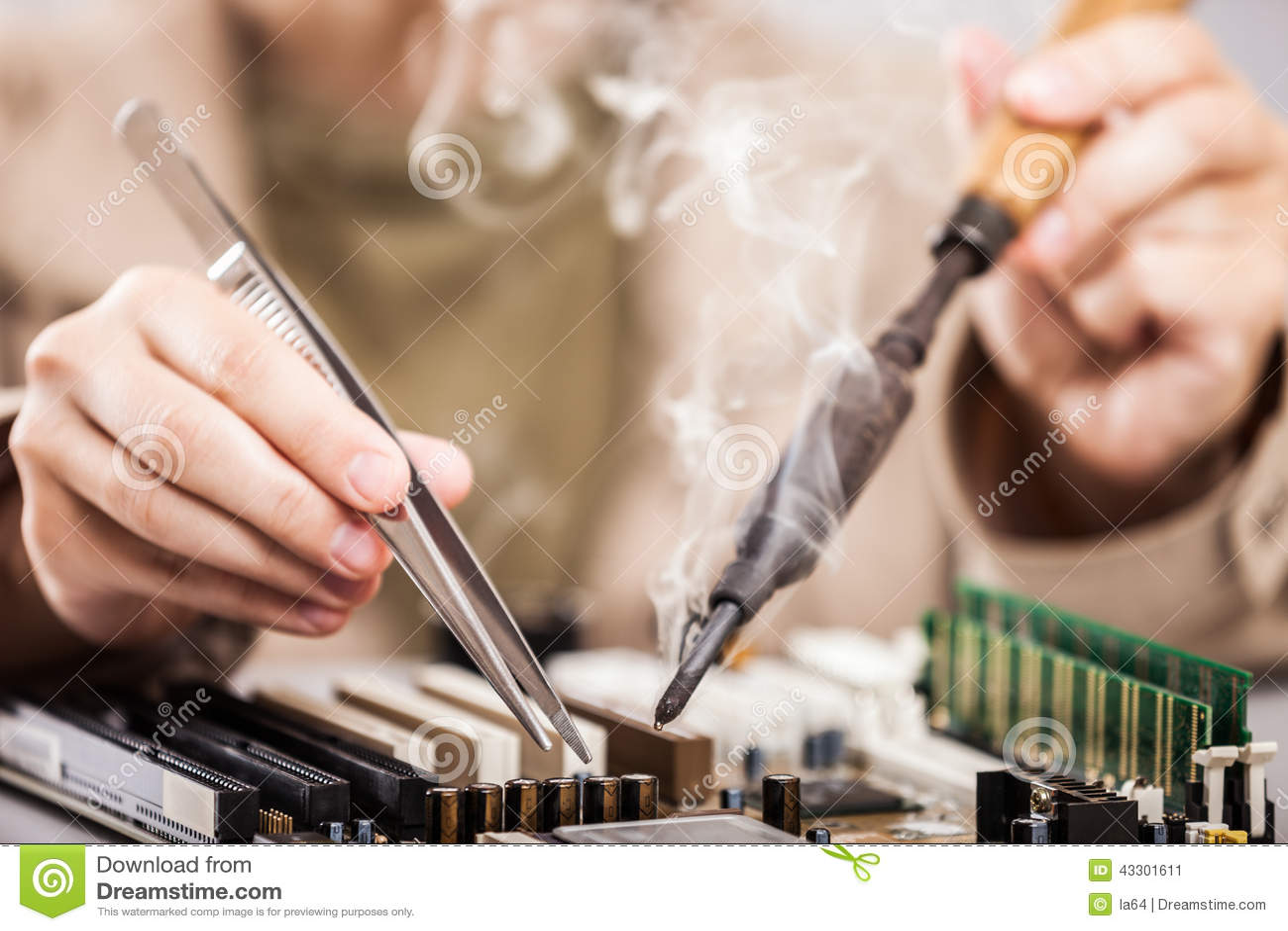 Human Hand Holding Soldering Iron Repairing Computer Circuit Boa Board Royalty Free Stock Photo Image