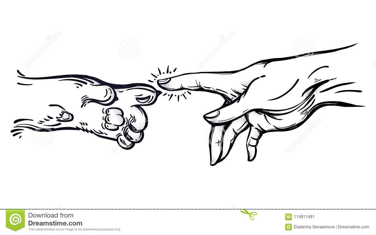 Human Hand And Pet Paw Of A Cat Or A Dog. Stock Vector ...