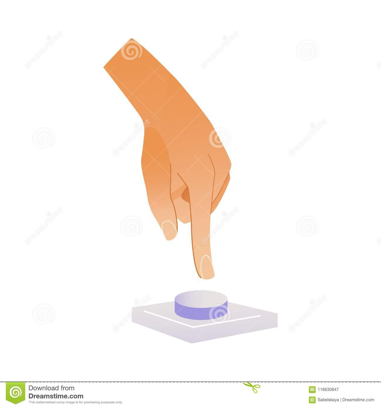 Human hand pressing button with index finger isolated on white background.