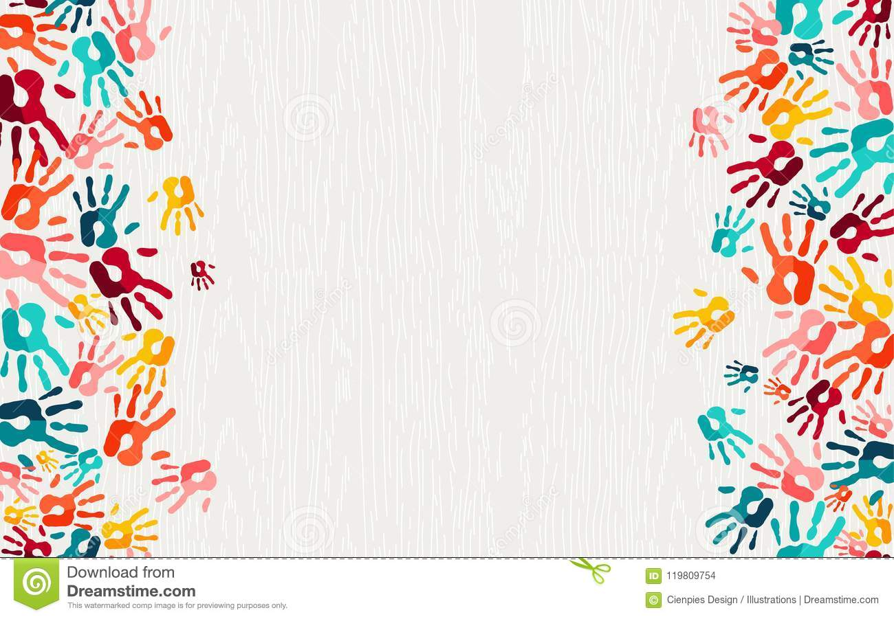 Human Hand Print Color Background Art Stock Vector