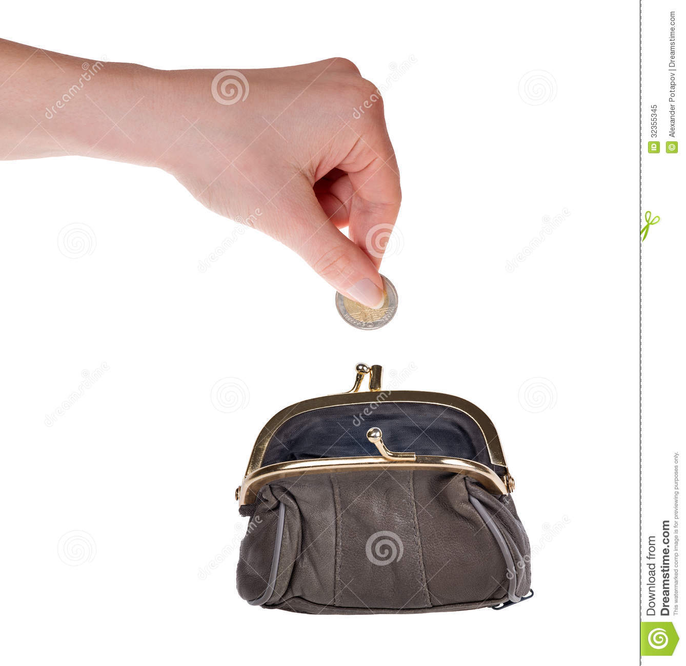 Human hand put euro coin in purse on white