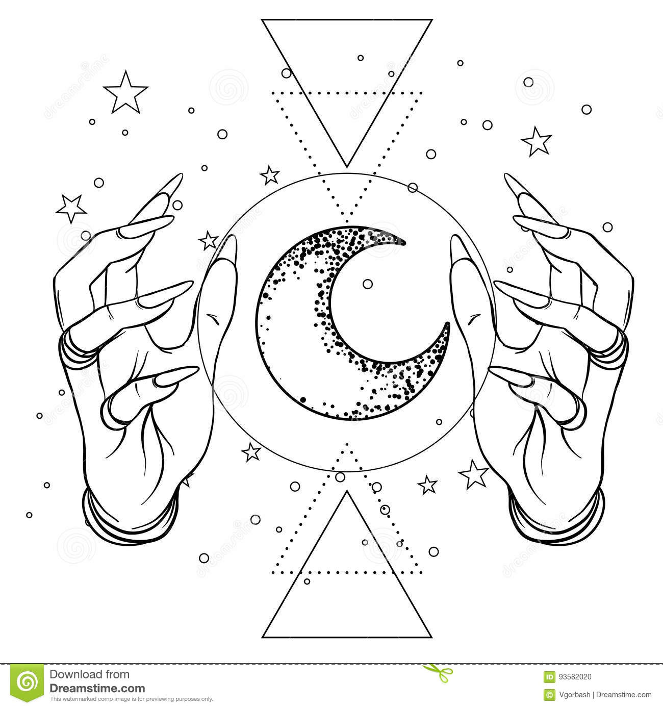 Human hand with space and sacred geometry symbols. Dotwork tattoo flash design. Vector illustration isolated on white. Eye of Pro