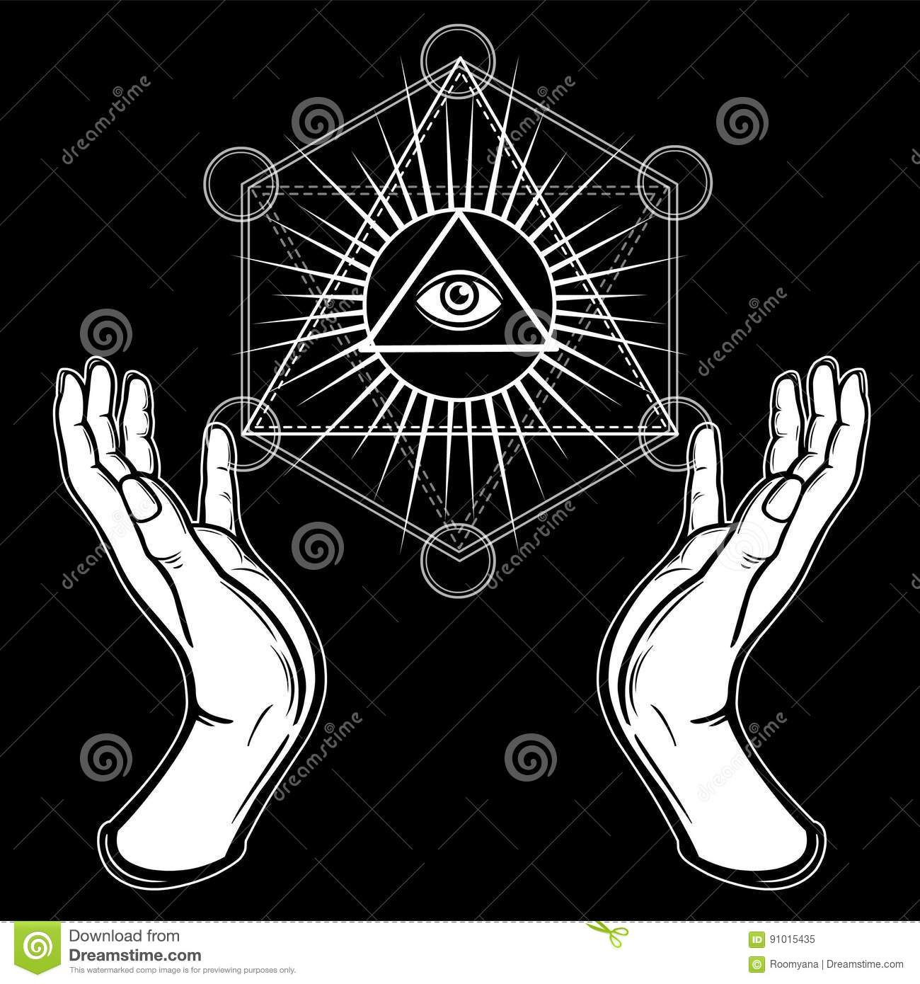 Human hands hold the shining triangle, a providence eye. Sacred geometry, mystical symbol.