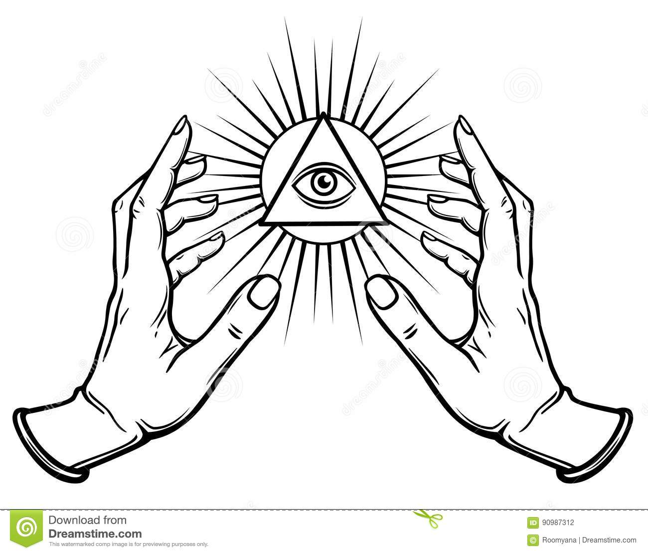 Human hands hold the shining triangle a symbol of eyes stock human hands hold the shining triangle a symbol of eyes buycottarizona