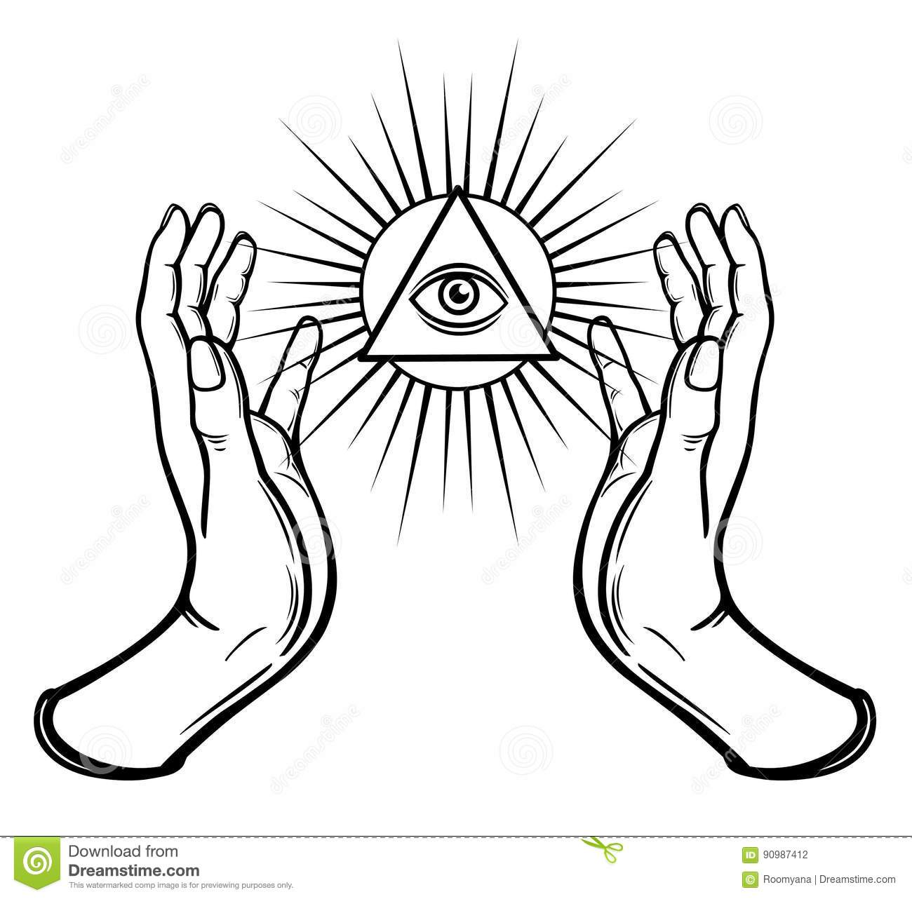 Human hands hold the shining triangle a symbol of eyes stock human hands hold the shining triangle a symbol of eyes body female buycottarizona