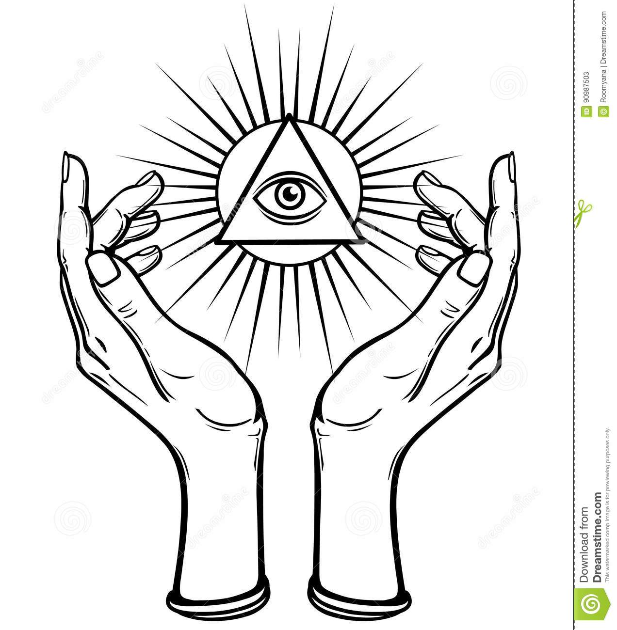 Human hands hold the shining triangle a symbol of eyes stock human hands hold the shining triangle a symbol of eyes female body buycottarizona