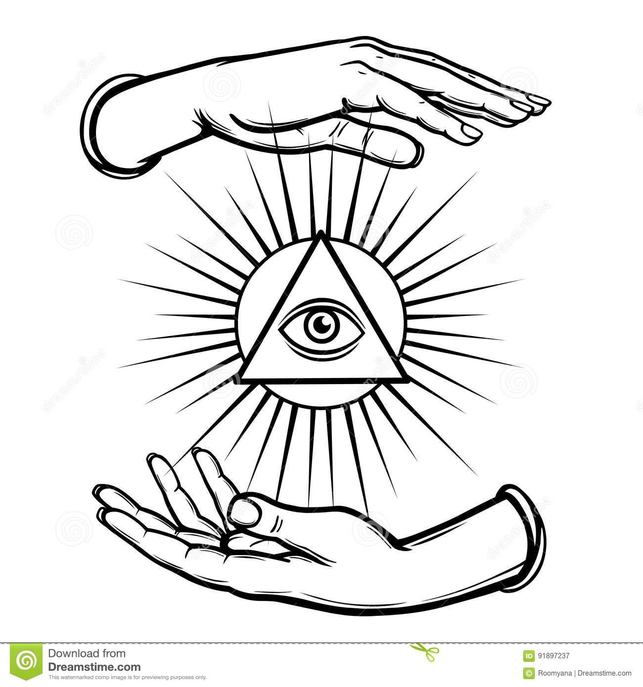Human hands hold the shining triangle a symbol of eyes coloring human hands hold the shining triangle a symbol of eyes coloring book buycottarizona