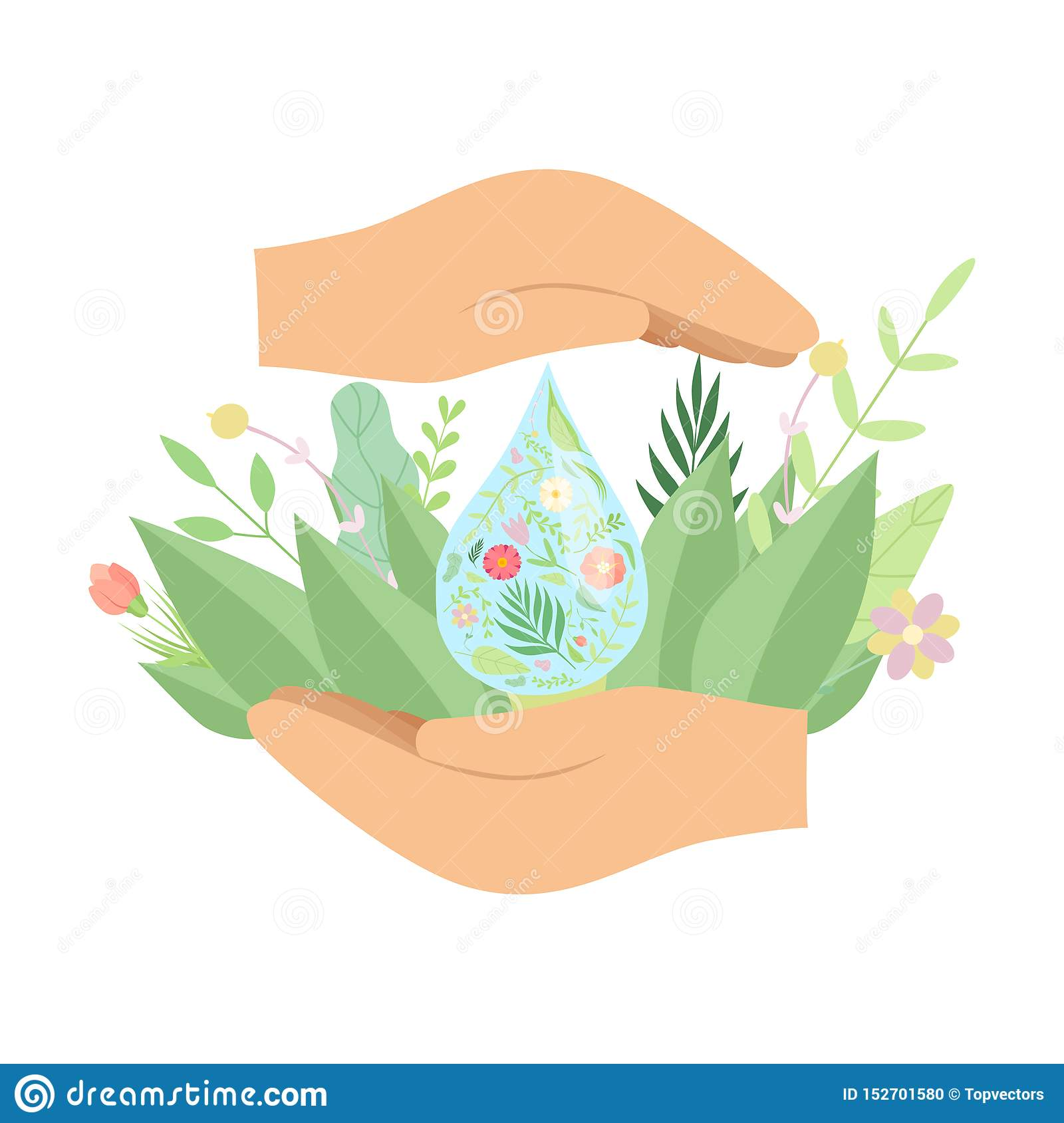 Human Hands Holding Fresh Water Drop, Green Leaves and Flowers, Save Water, Environmental Protection, Ecology Concept