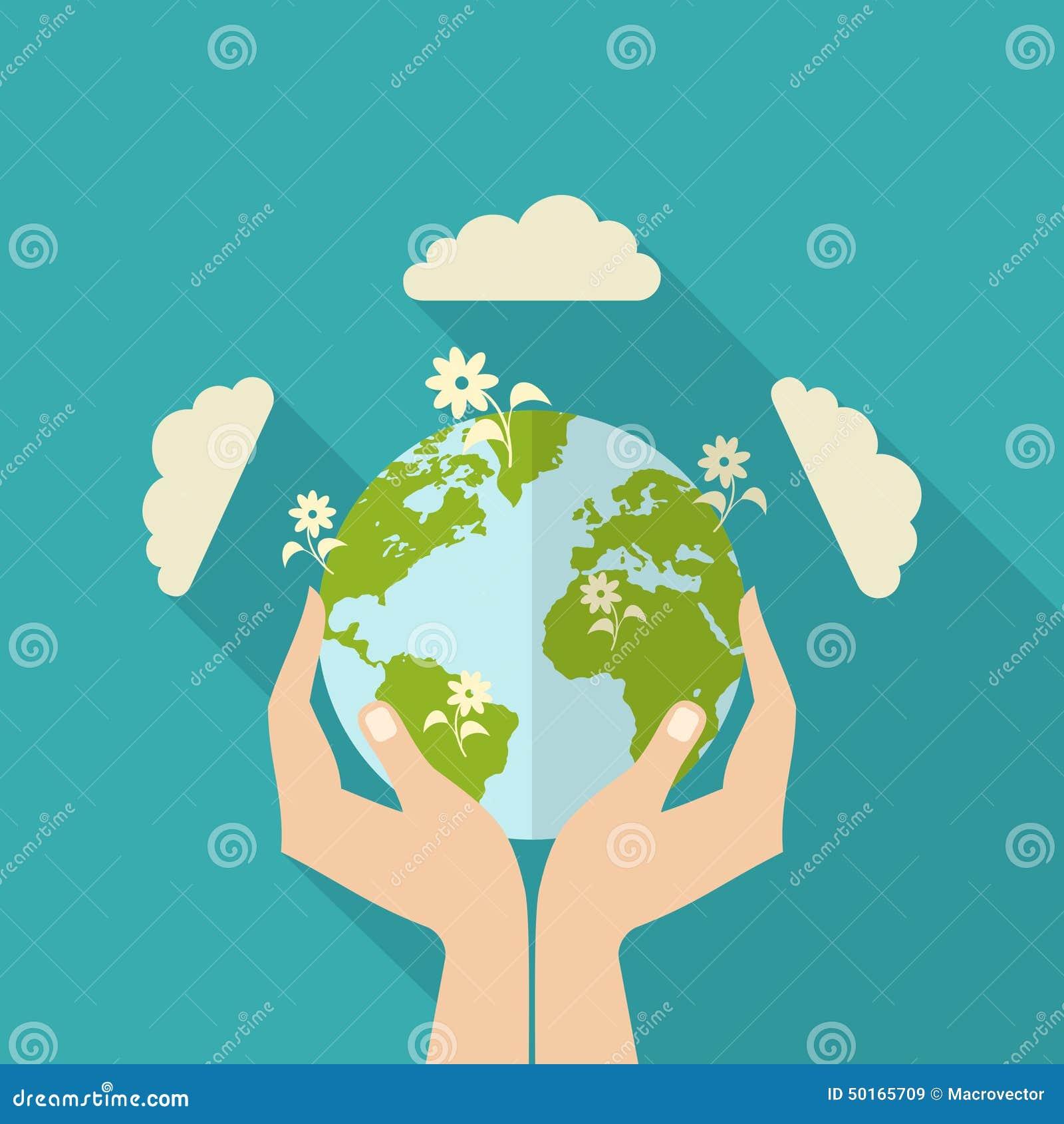 human hands holding globe stock vector