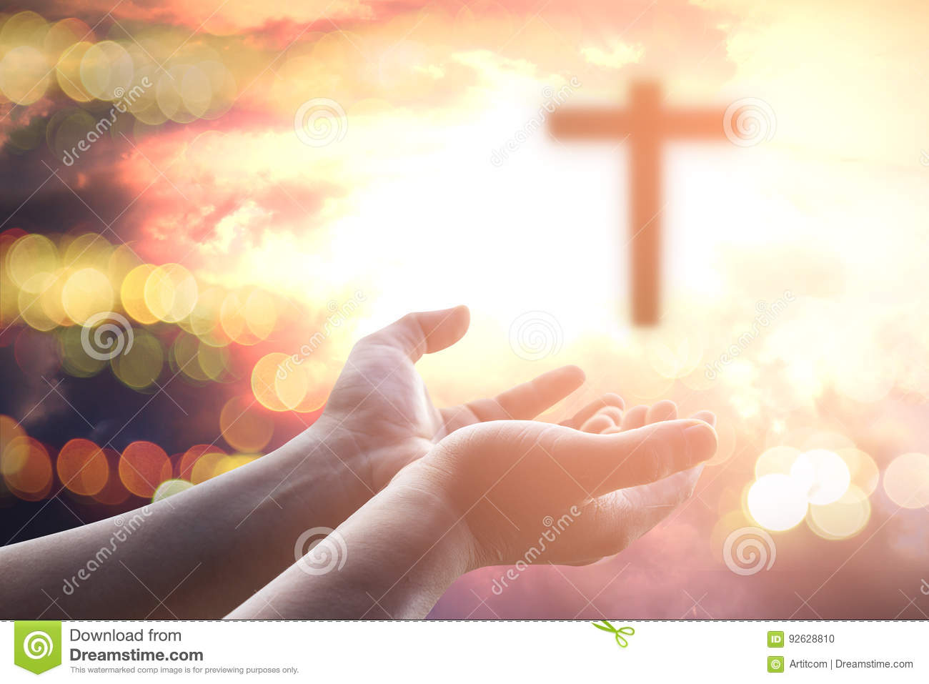 Human hands open palm up worship. Eucharist Therapy Bless God Helping Repent Catholic Easter Lent Mind Pray.