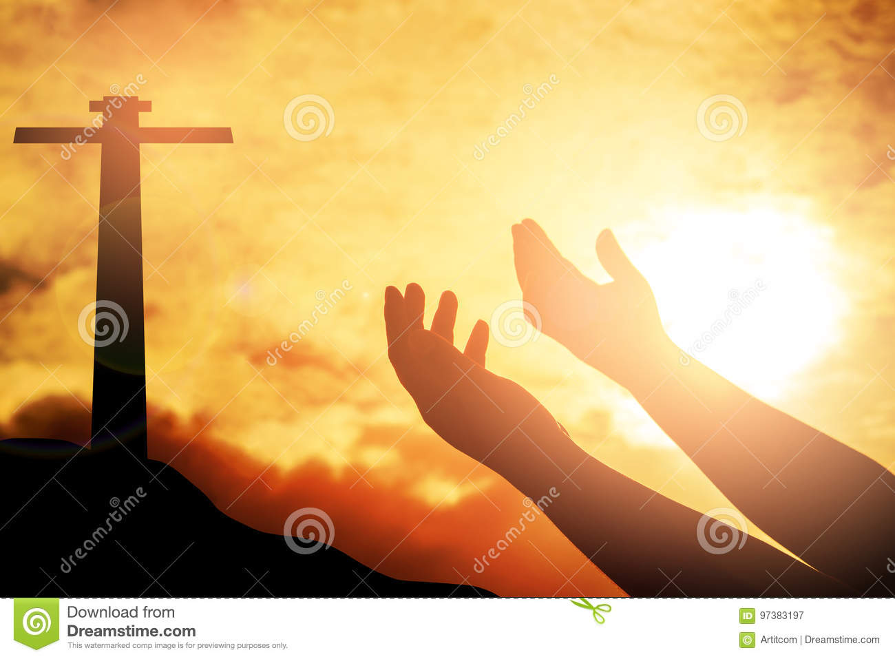 Human hands open palm up worship. Eucharist Therapy Bless God He