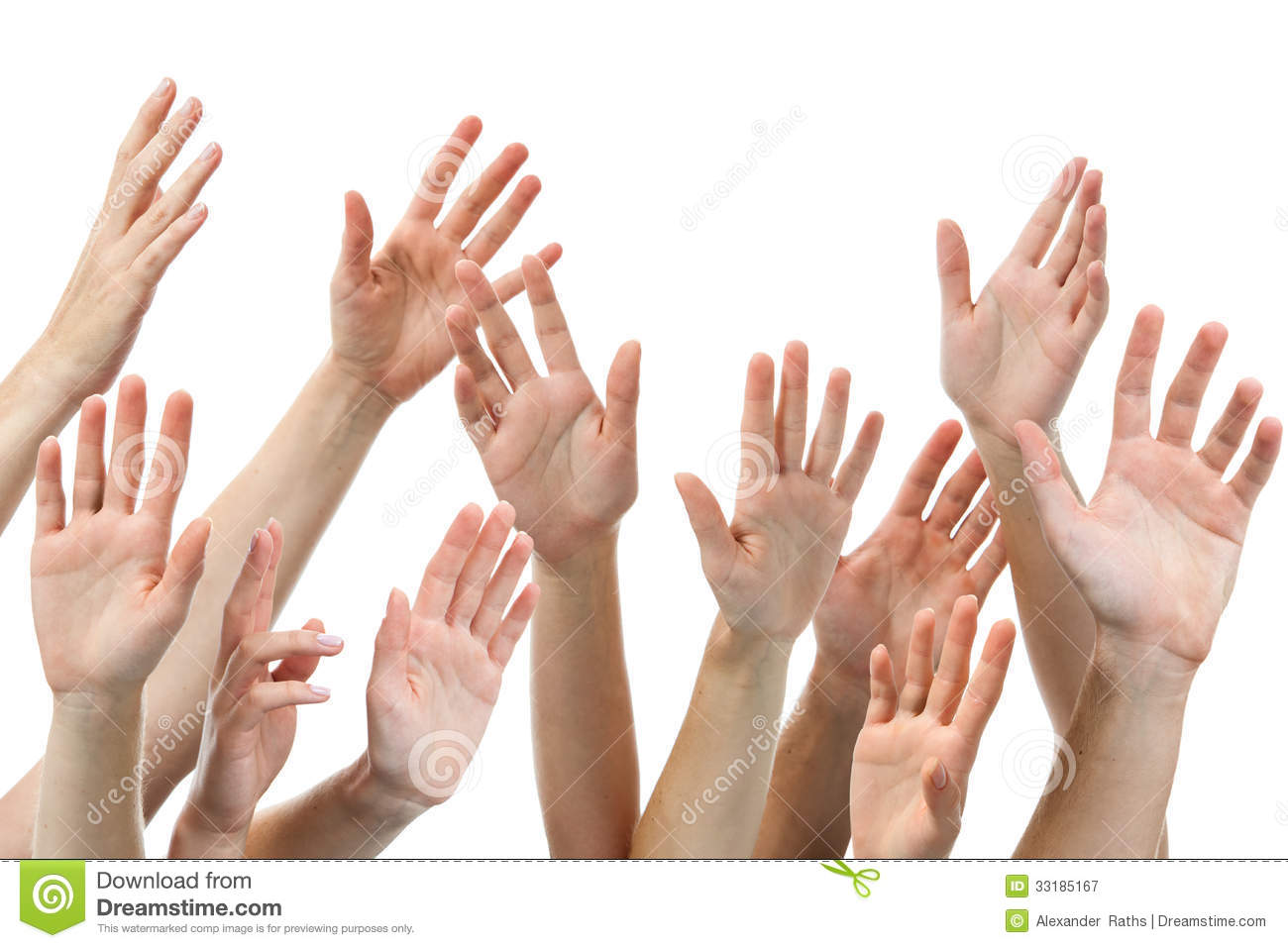 Human Hands Raised Royalty Free Stock Photography - Image: 33185167