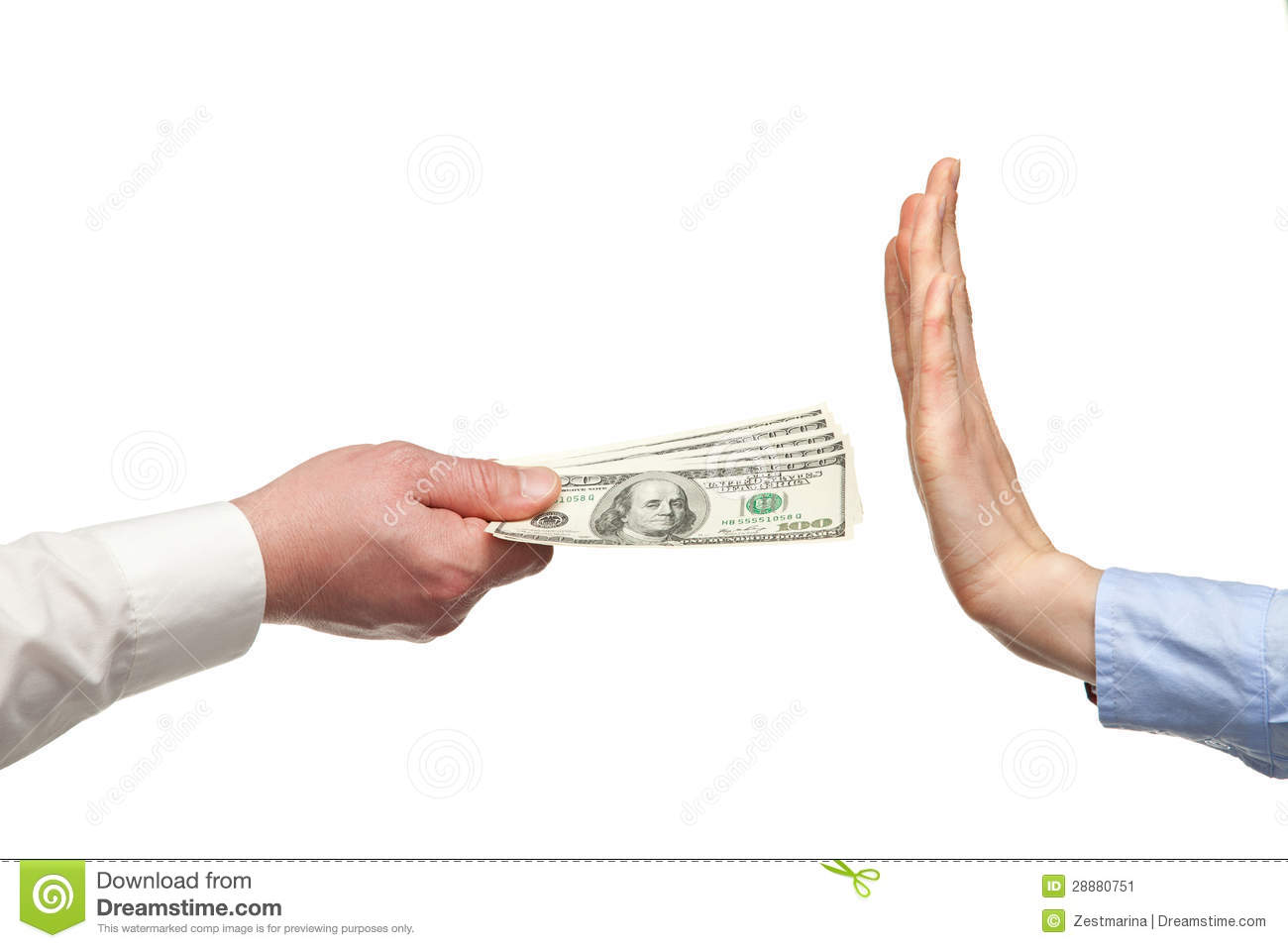 human hands rejecting an offer of money stock image image  human hands rejecting an offer of money