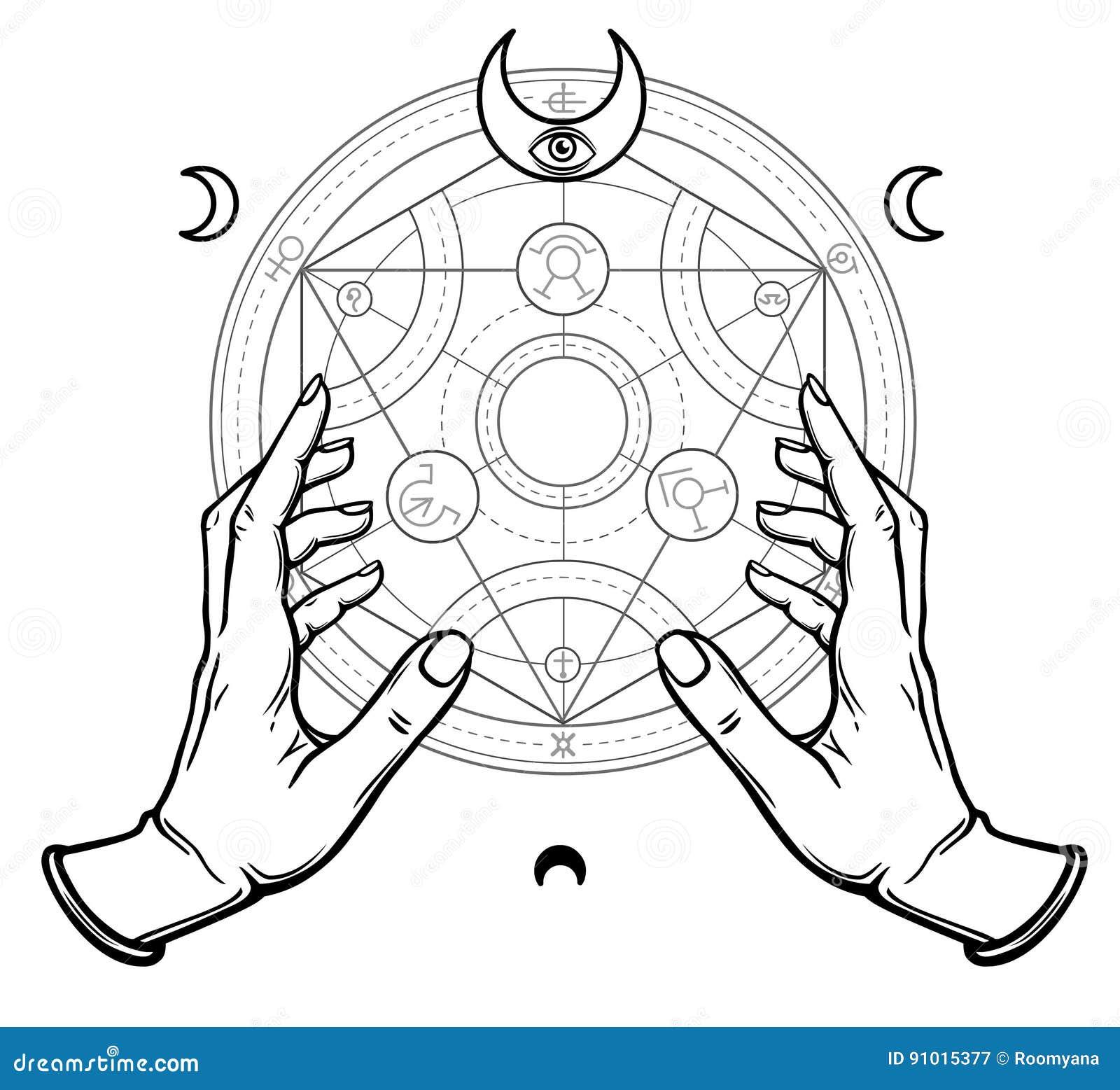 Alchemical symbols stock illustrations 128 alchemical symbols human hands touch an alchemical circle mystical symbols sacred geometry vector illustration isolated biocorpaavc Choice Image
