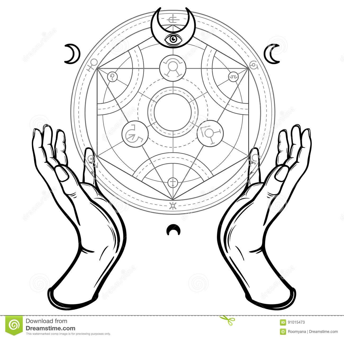 Human hands touch an alchemical circle. Mystical symbols, sacred geometry.