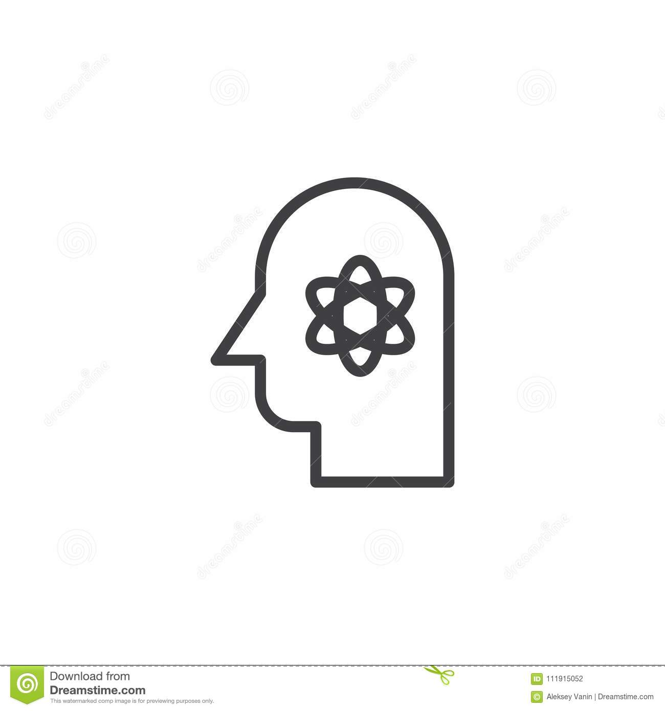 Human head with atom structure inside outline icon stock vector human head with atom structure inside outline icon scientist linear style sign for mobile concept and web design knowledge simple line vector icon ccuart