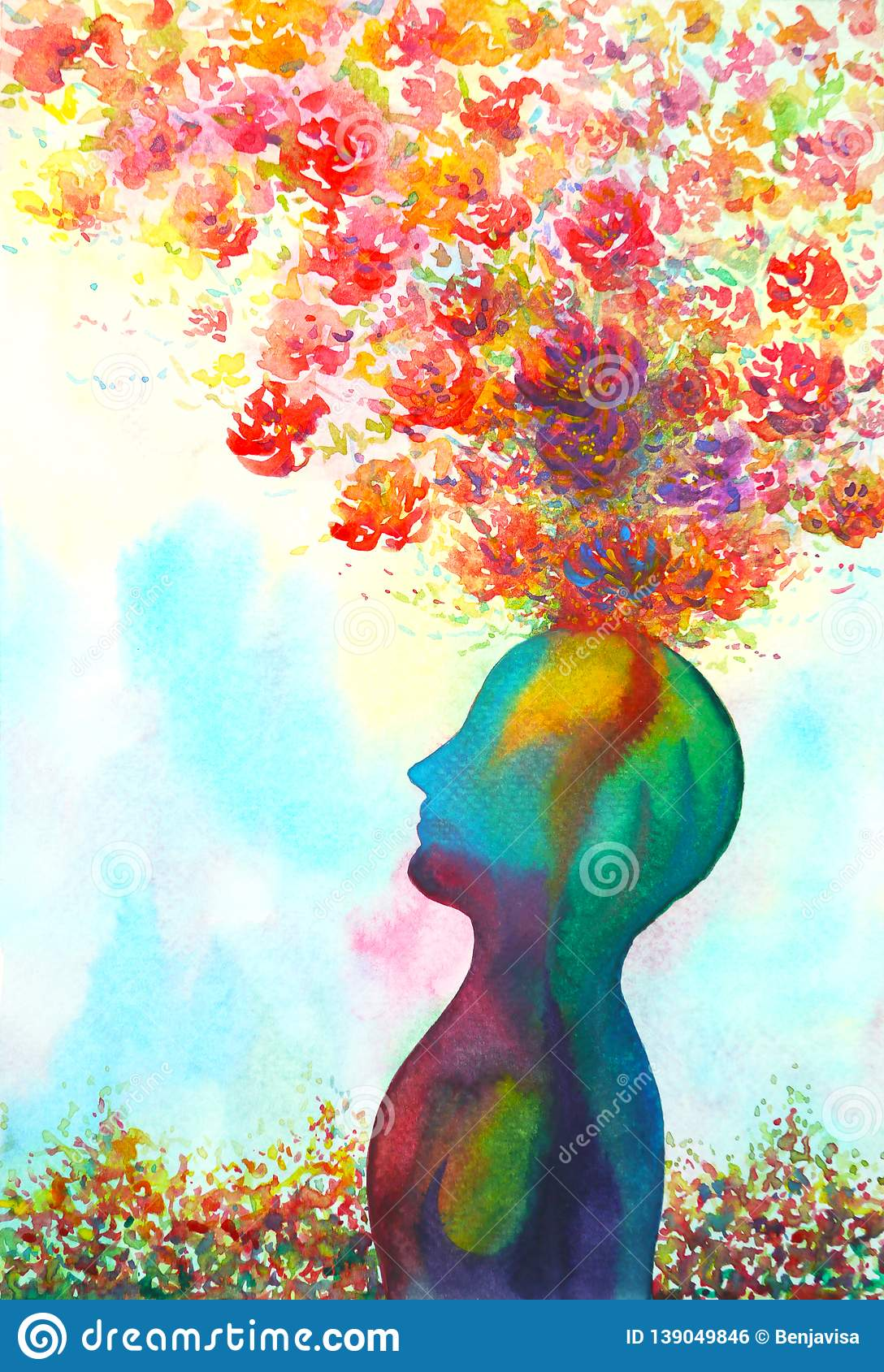 Human Head Chakra Power Inspiration Abstract Thinking World Universe Inside Your Mind Watercolor Painting Stock Illustration Illustration Of Healing Fantasy 139049846
