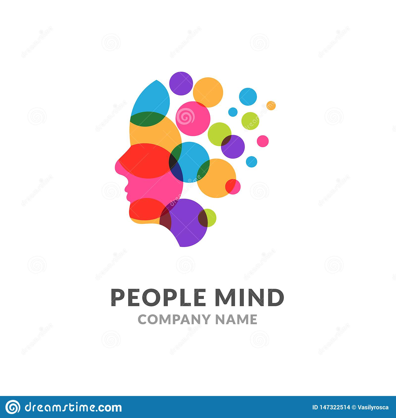 Human head face logo, creative brain man. Digital profile face innovation intelligence mind design logo