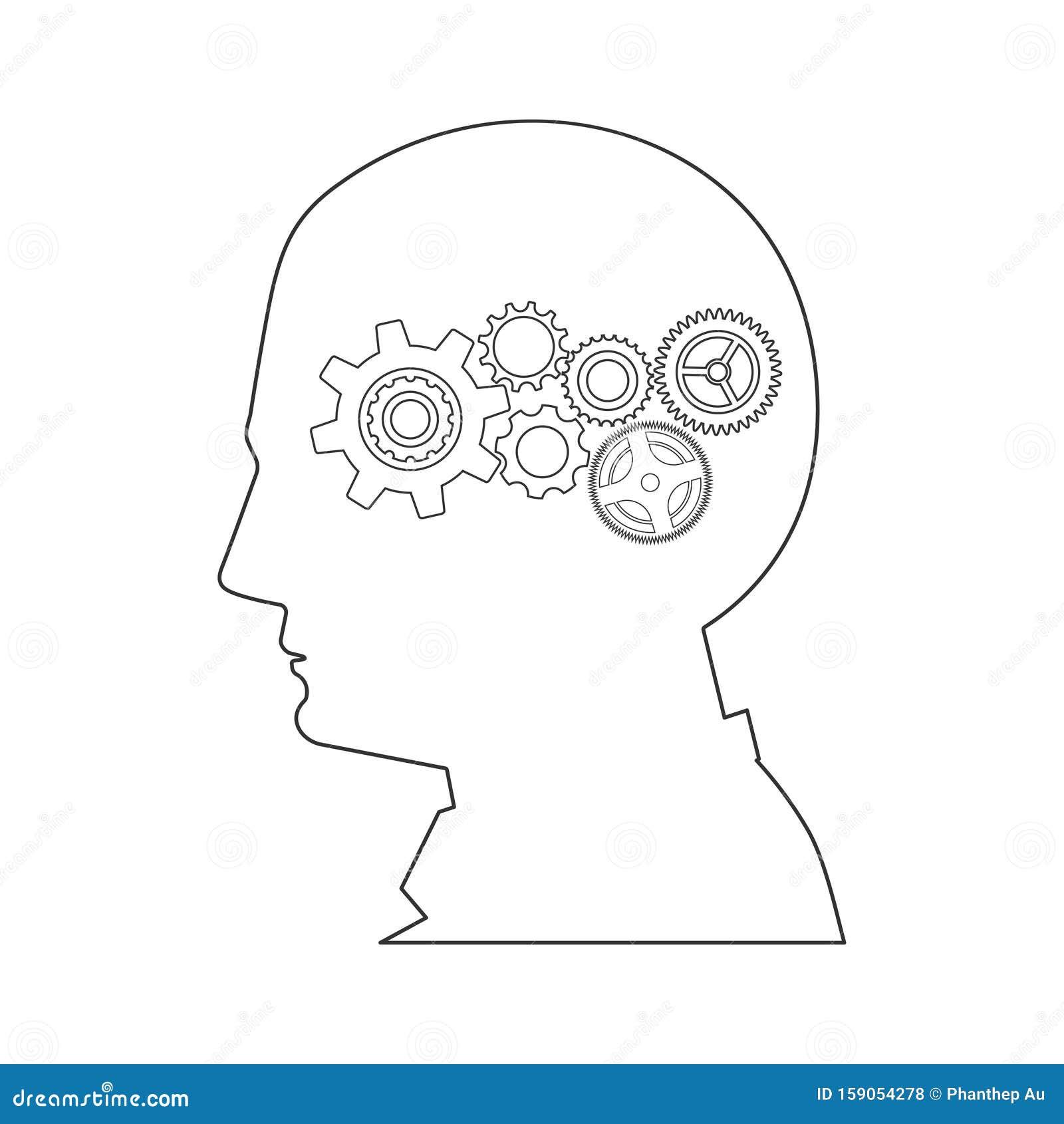 Head and gear wheels, creative builder concept