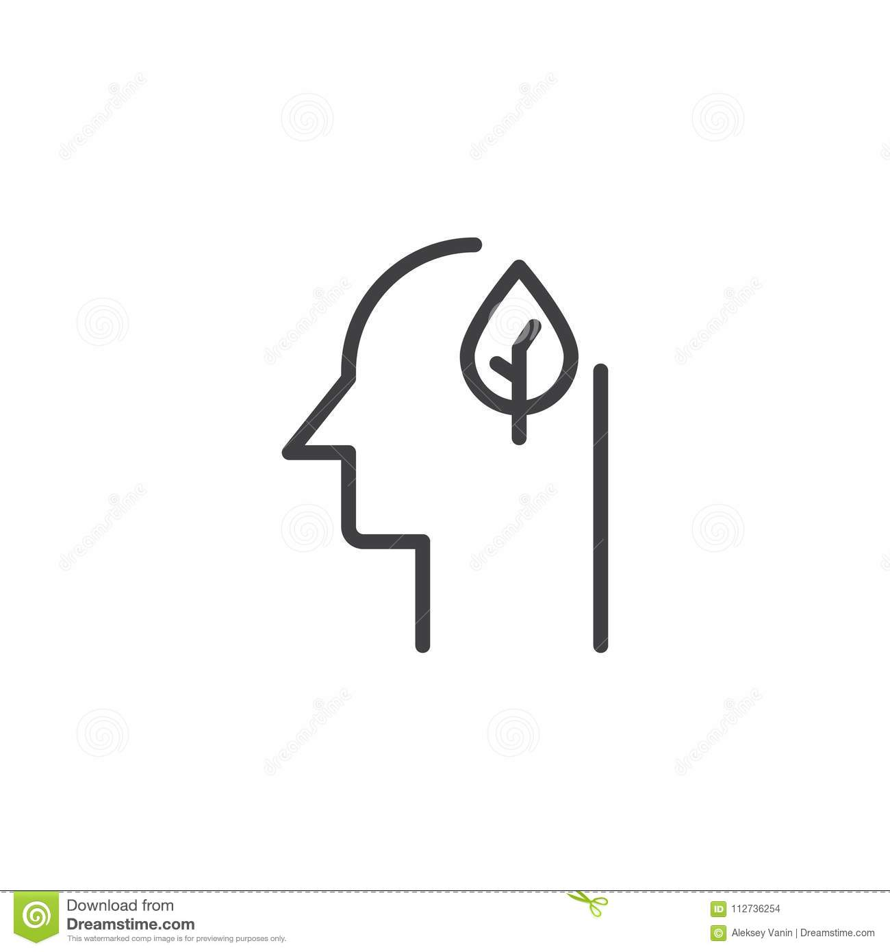 Human Head With Leaf Outline Icon Stock Vector Illustration Of