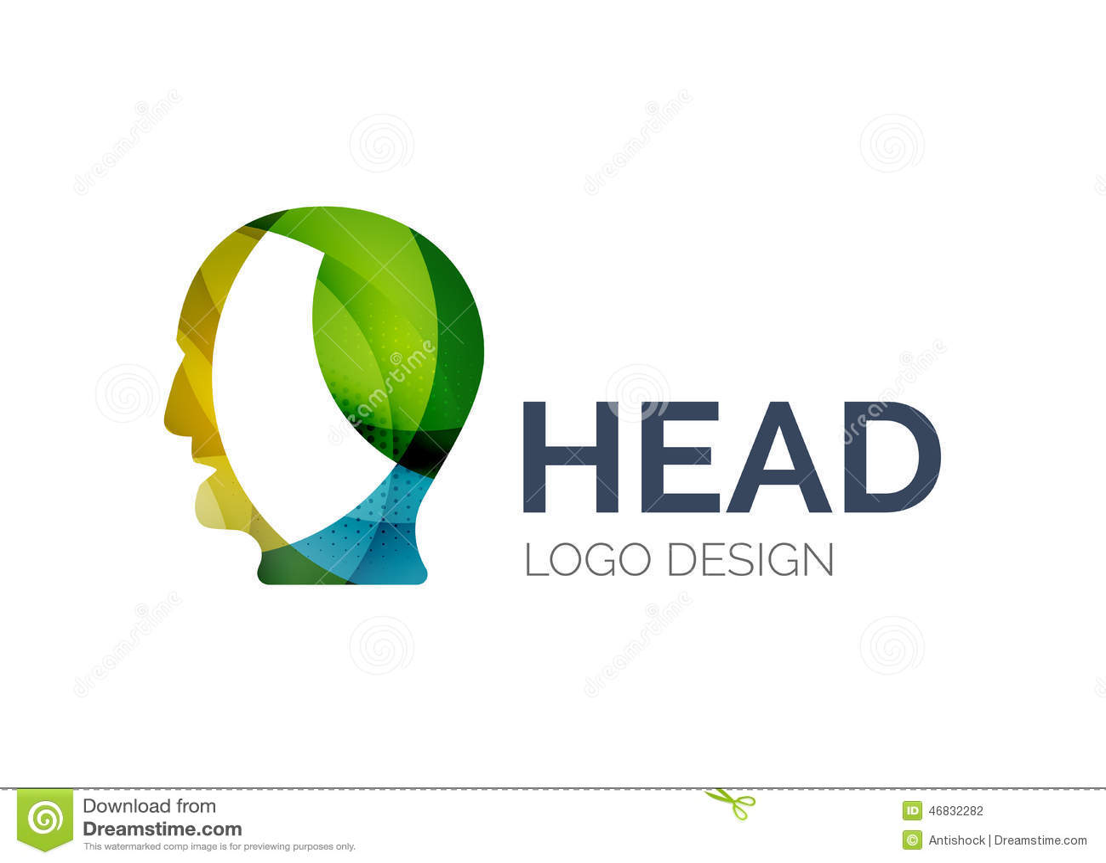 Human Head Logo Design Made Of Color Pieces Stock Vector