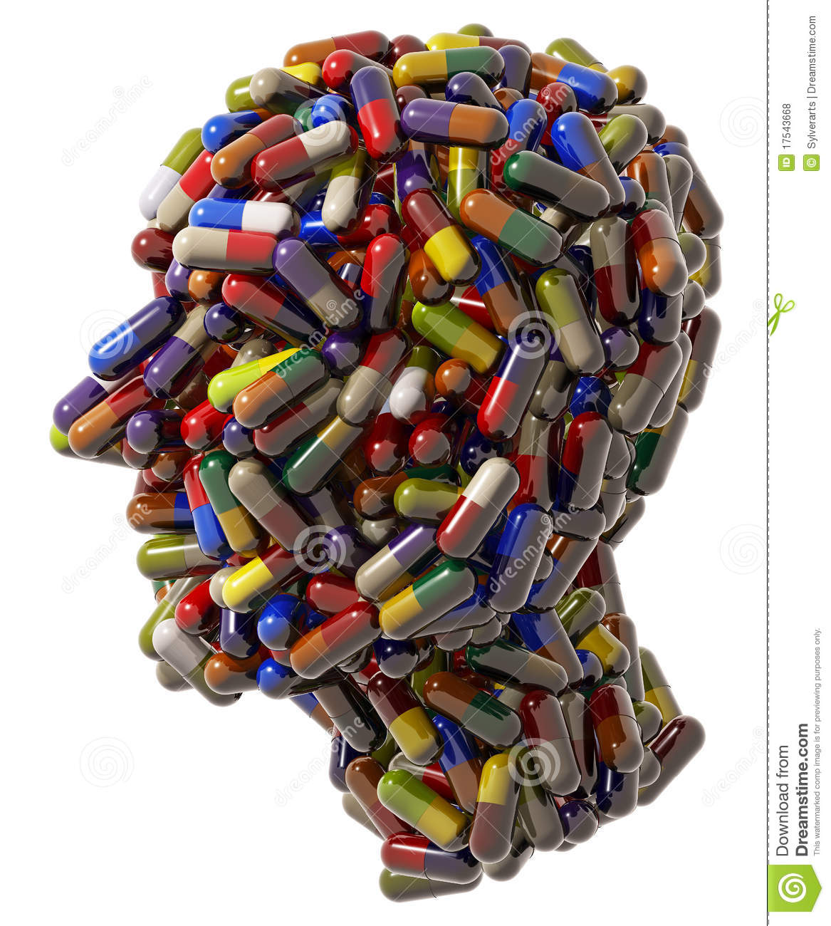Human Head Of Medicine Tablets Royalty Free Stock Photos - Image