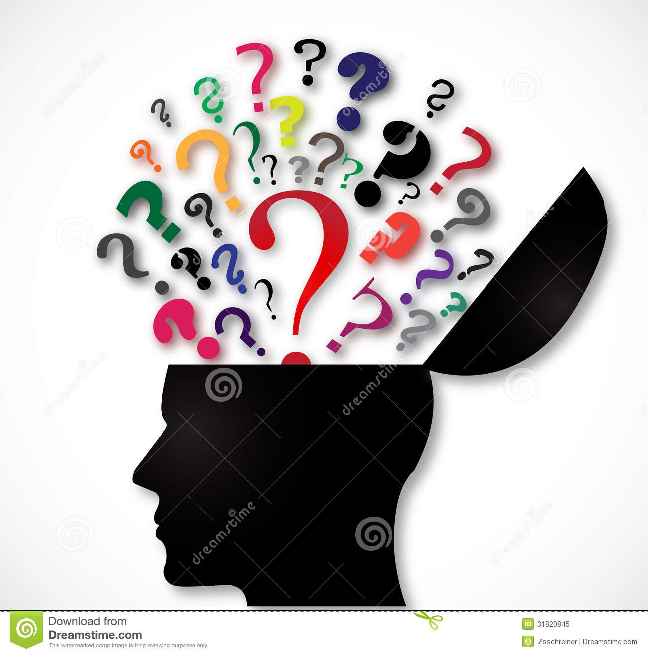 human head open with color question marks royalty free