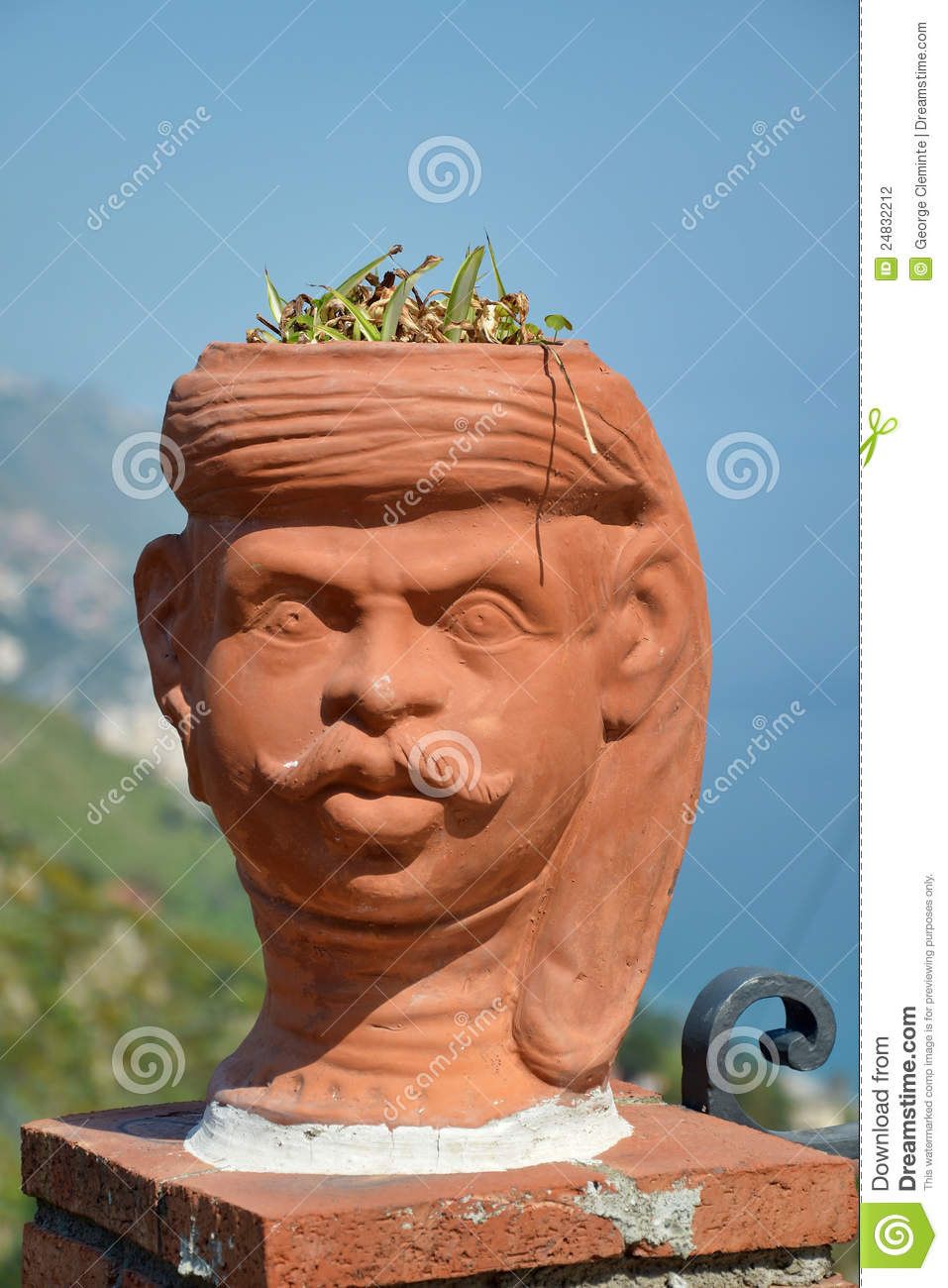 Human Head Shaped Flower Pot Stock Photography Image