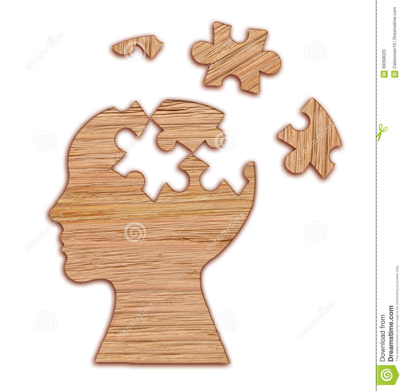 Human Head Silhouette, Mental Health Symbol. Puzzle. Stock ...