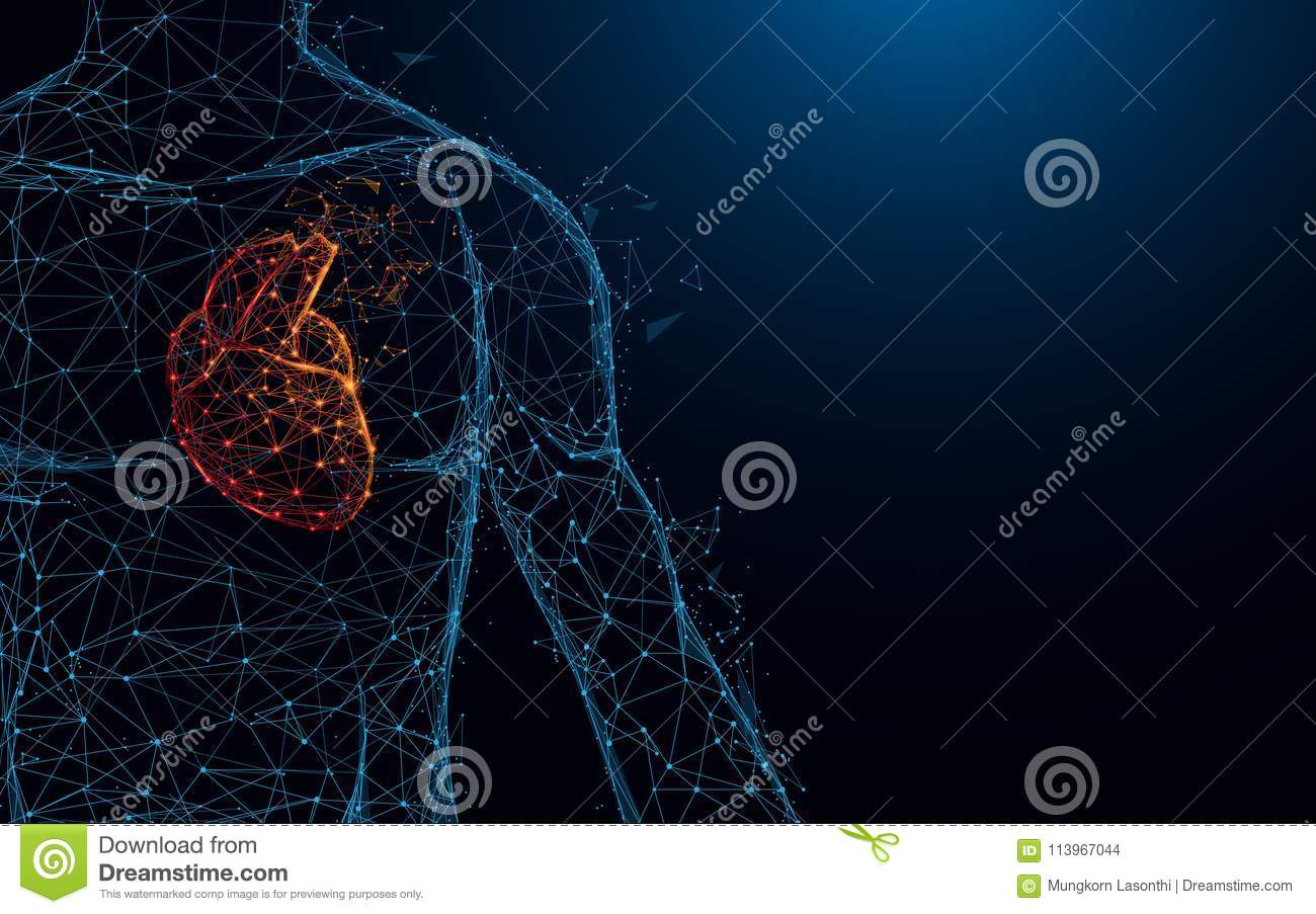 Human heart anatomy form lines and triangles, point connecting network on blue background.
