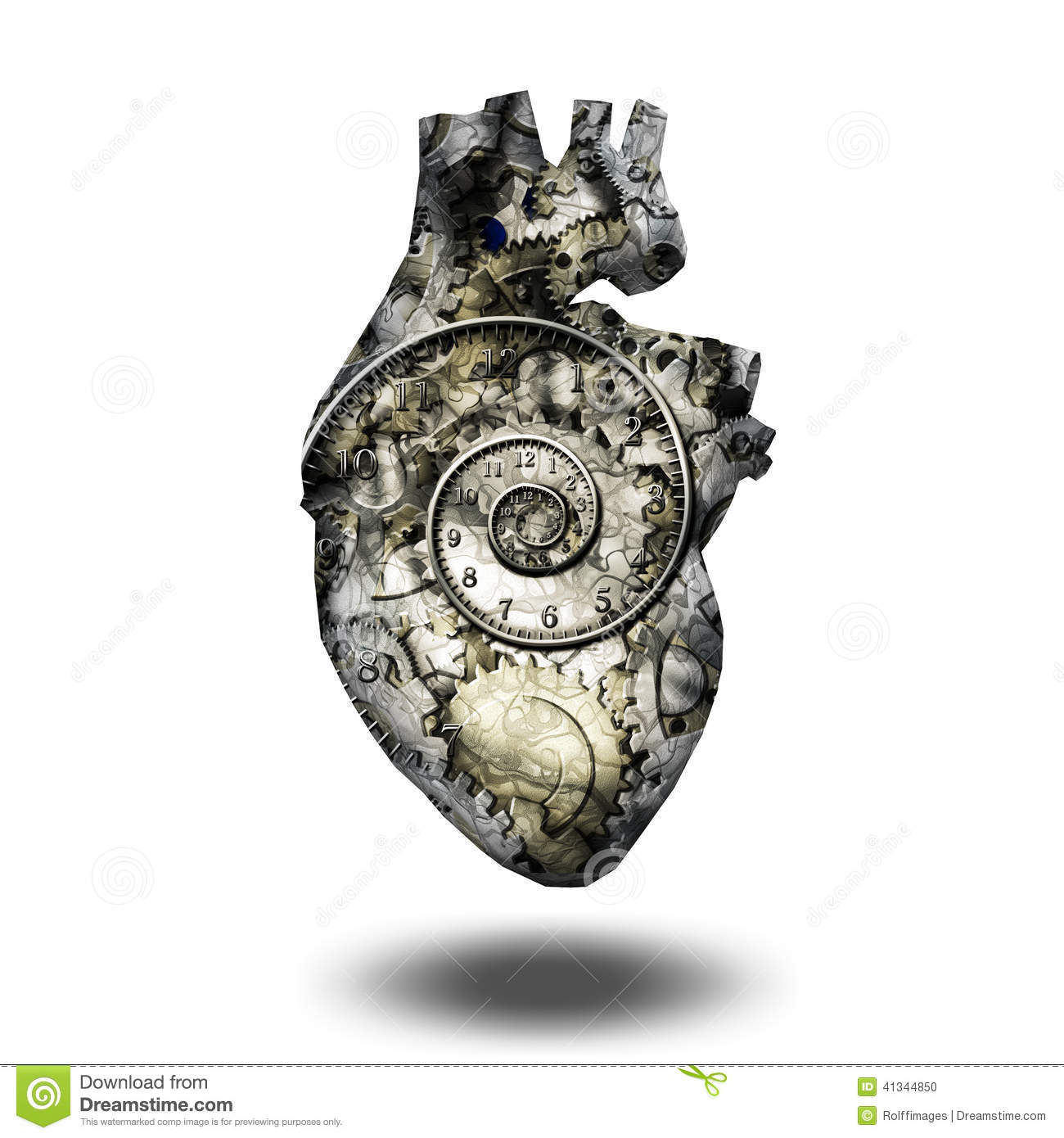 human heart gears and time stock illustration image