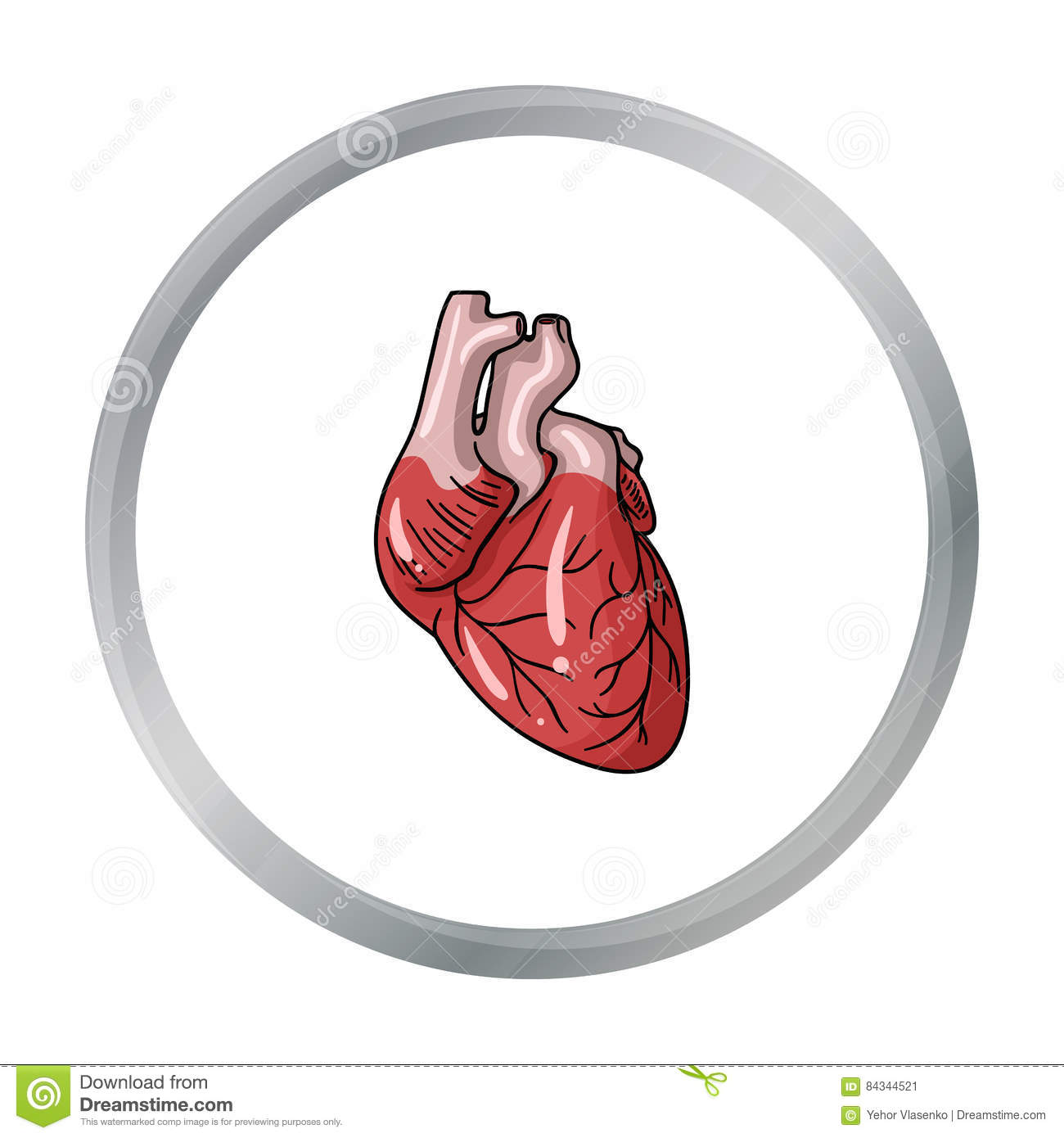 Human Heart Icon In Cartoon Style Isolated On White