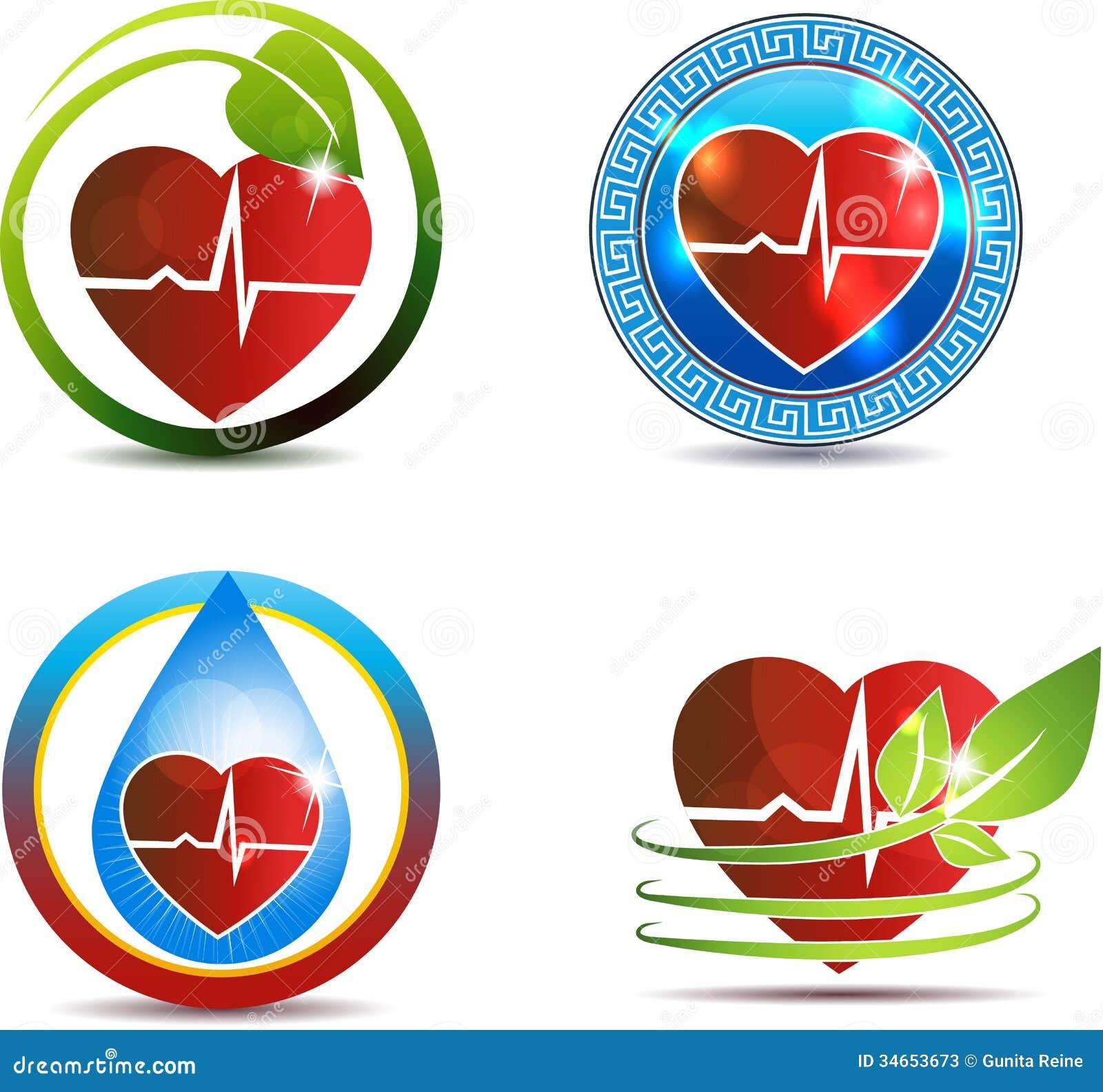 human heart medical symbols set stock vector