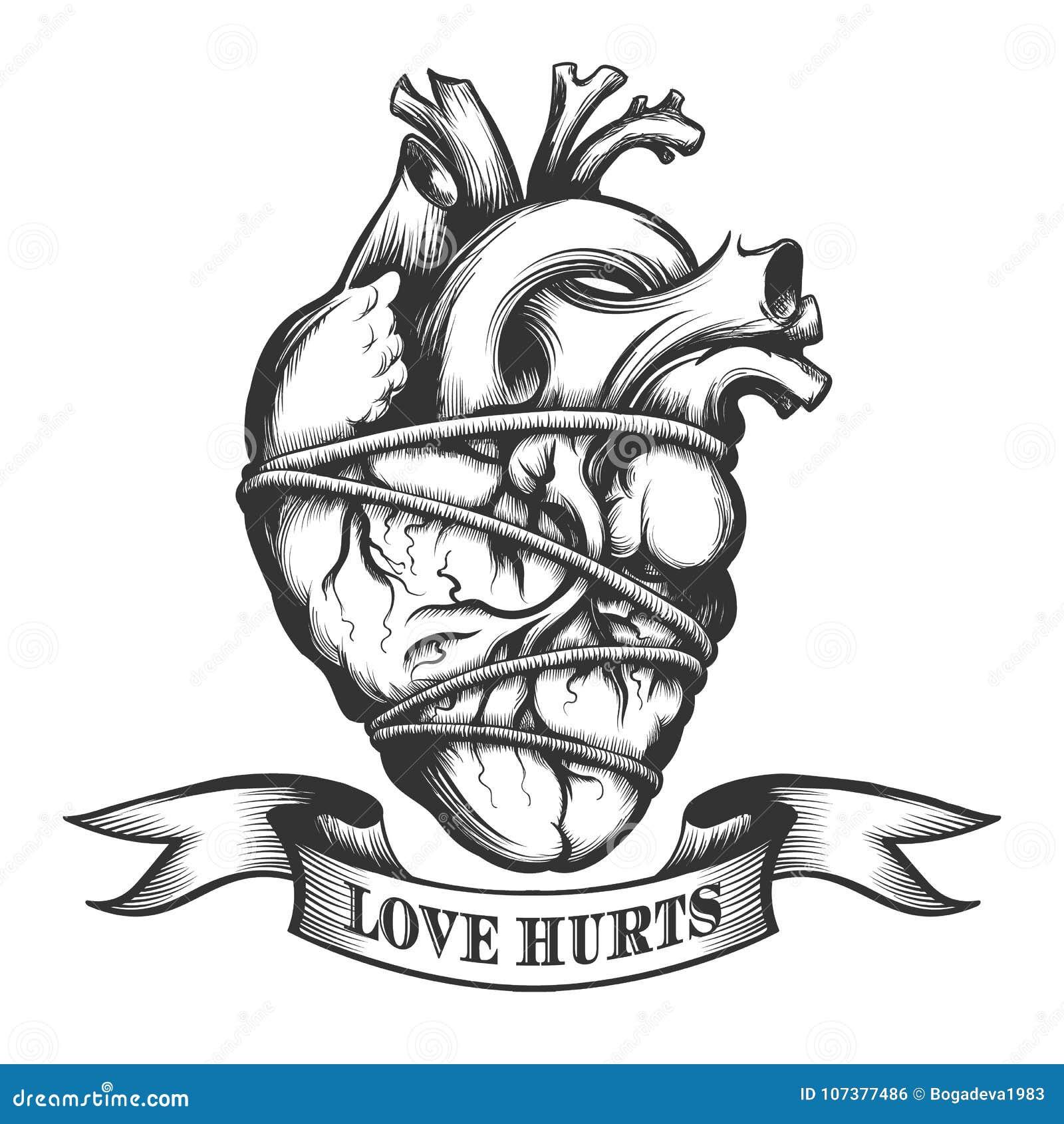 Tied Human Heart stock illustration. Illustration of antique - 107377486