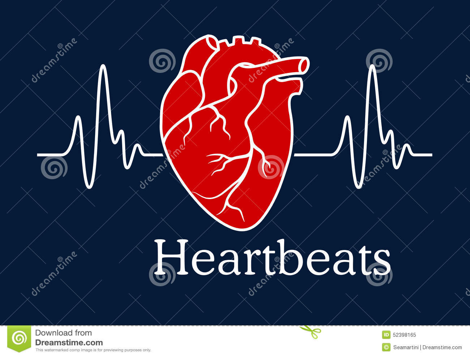 Human heart with white heartbeats cardiogram