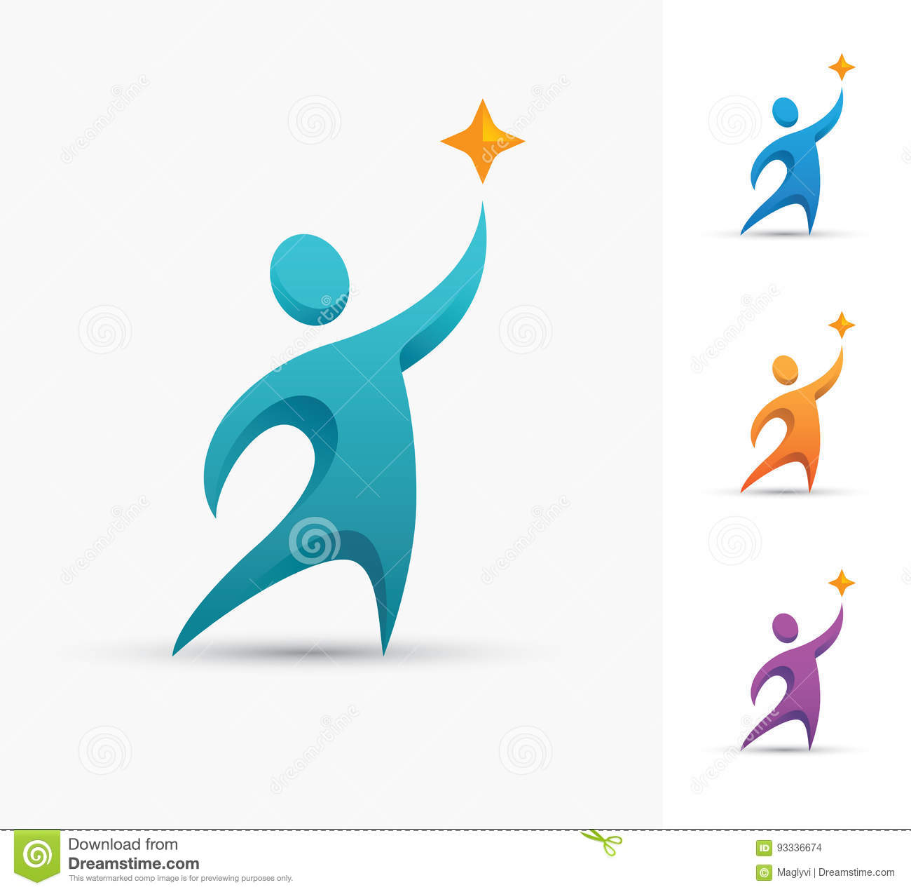 Achievement Logo human logo with star stock vector. illustration of achievement