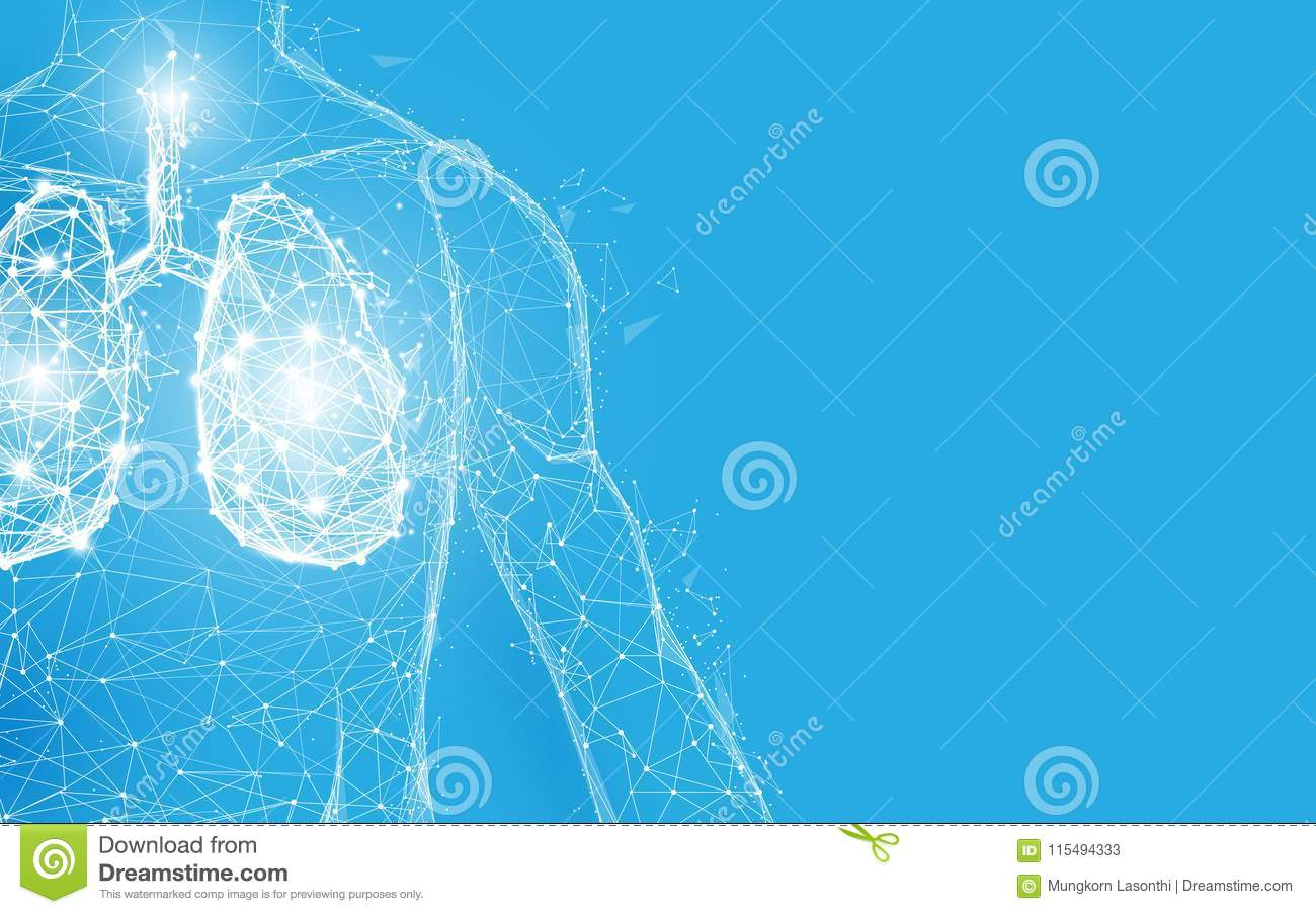 Human lungs anatomy form lines and triangles, point connecting network on blue background.