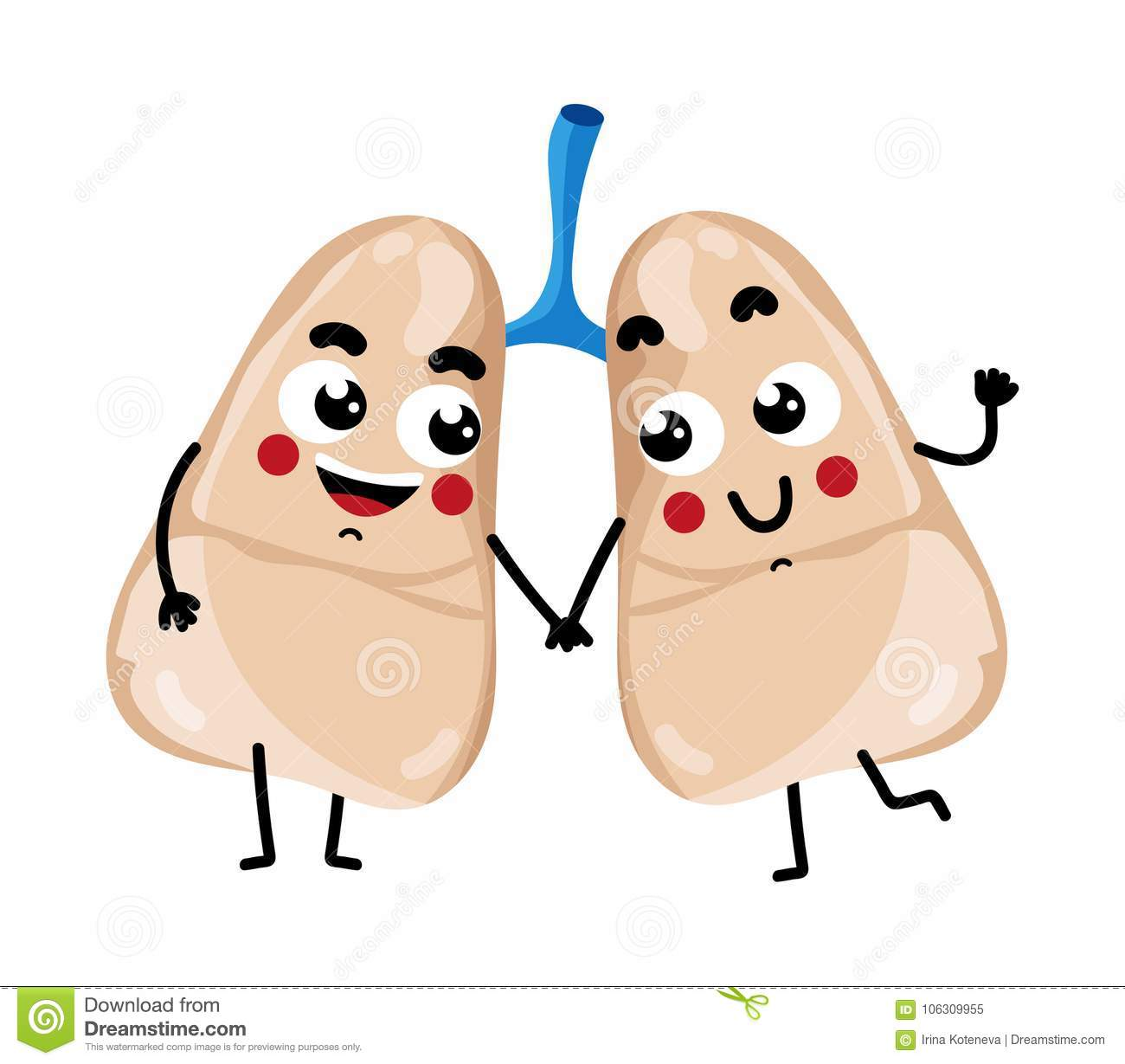human lungs cute cartoon character stock vector illustration of
