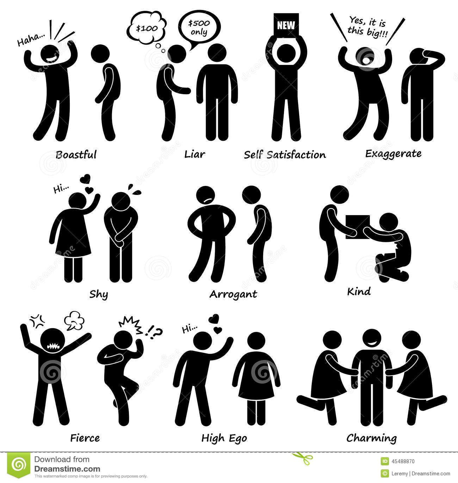 Human Man Character Behaviour Cliparts Icons Stock Vector - Image ...