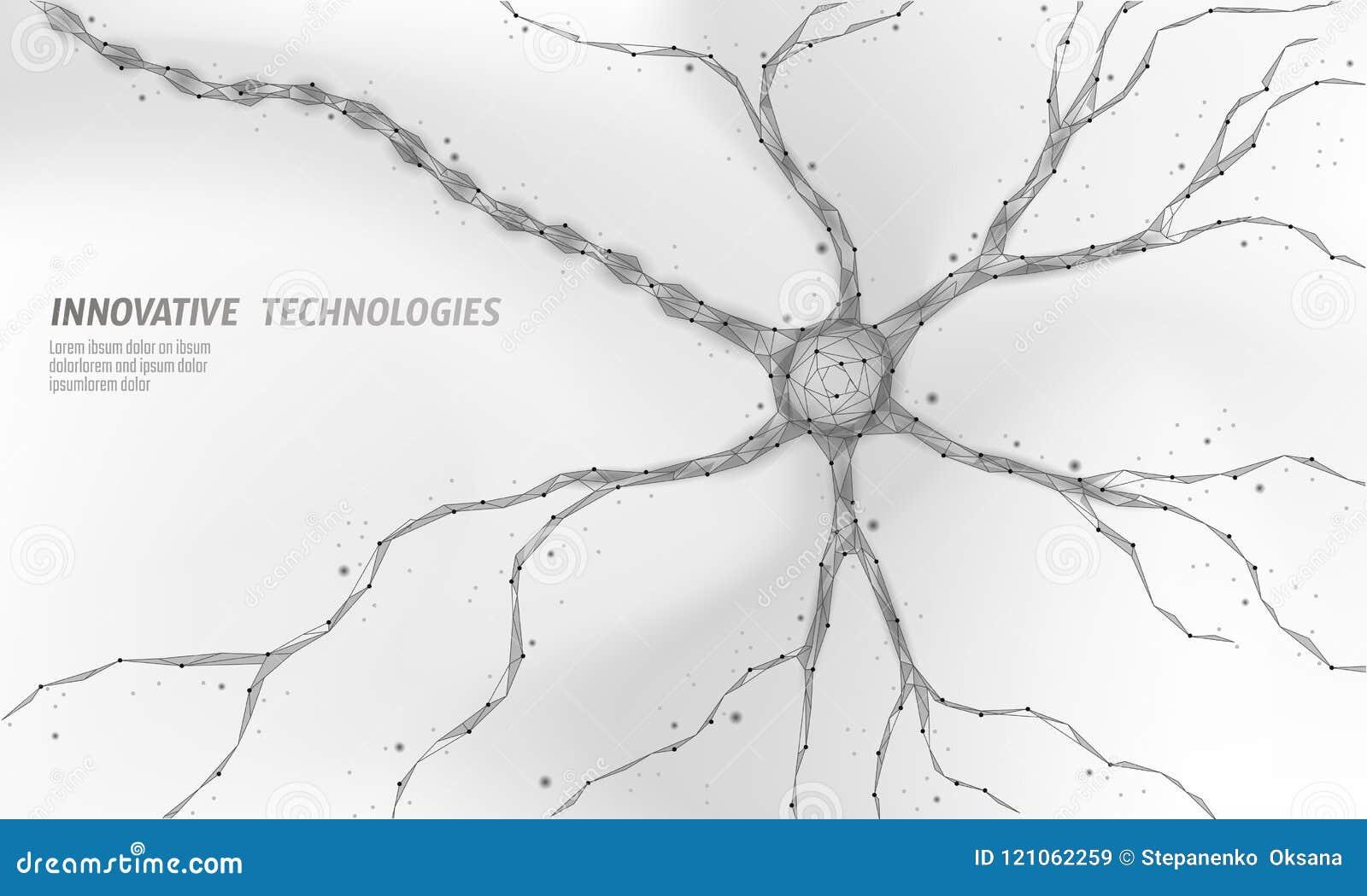 Human neuron low poly anatomy concept. Artificial neural network technology science medicine cloud computing. AI 3D