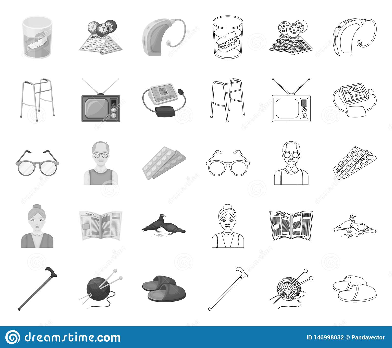 Human Old Age Mono,outline Icons In Set Collection For Design