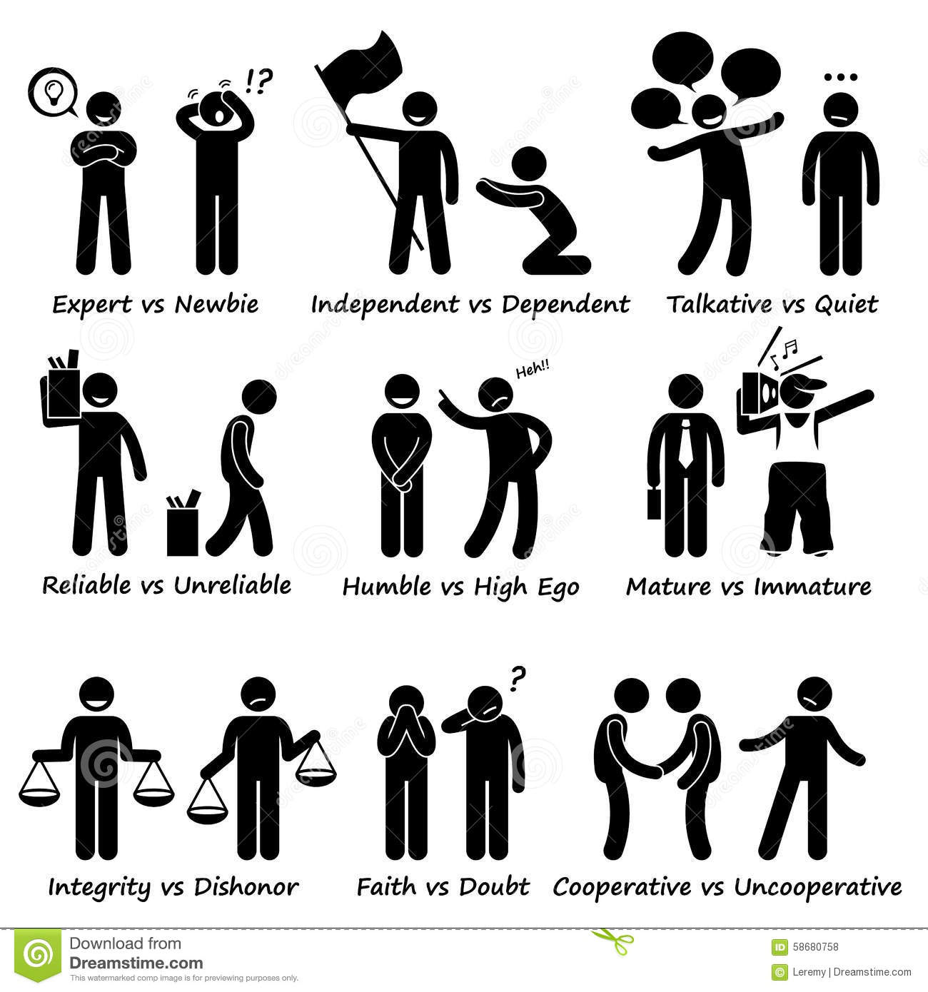 human opposite behaviour positive vs negative character free vector stick figure stick figure vector art free